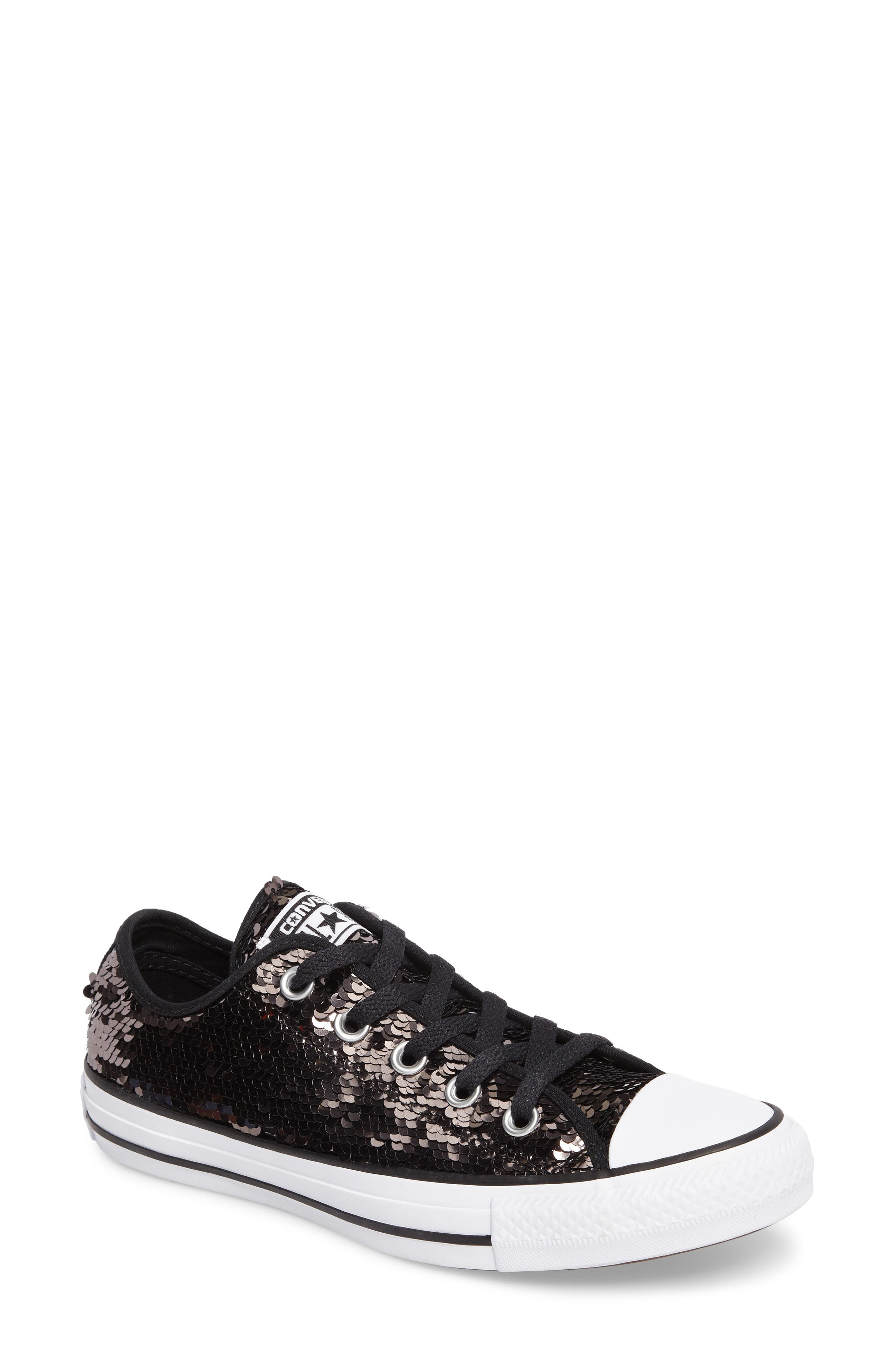 Chuck Taylor<sup>®</sup> All Star<sup>®</sup> Sequin Low Top Sneaker,                         Main,                         color, Gunmetal Sequins
