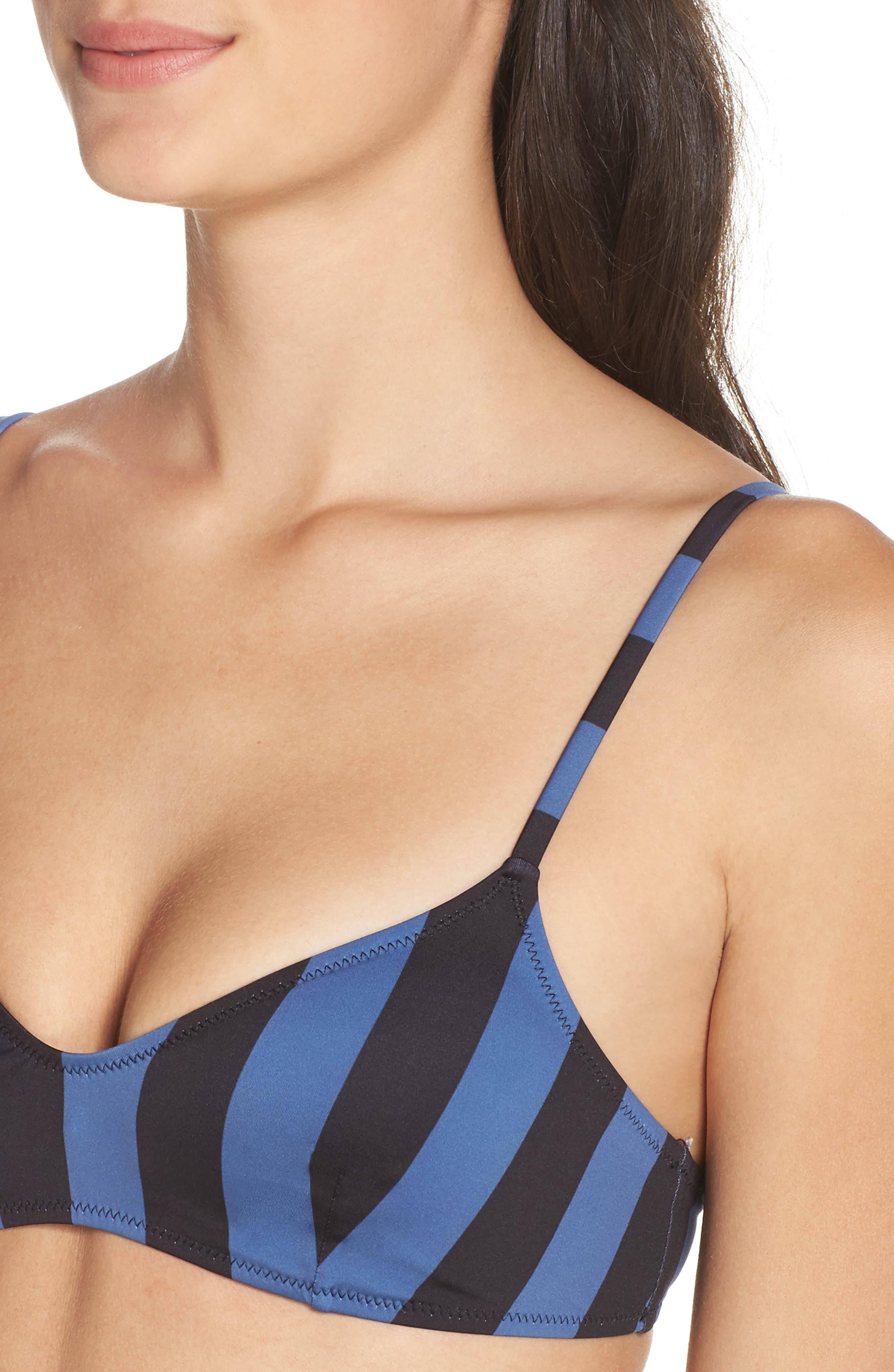 The Rachel Bikini Top,                             Alternate thumbnail 4, color,                             Black Slate Stripe