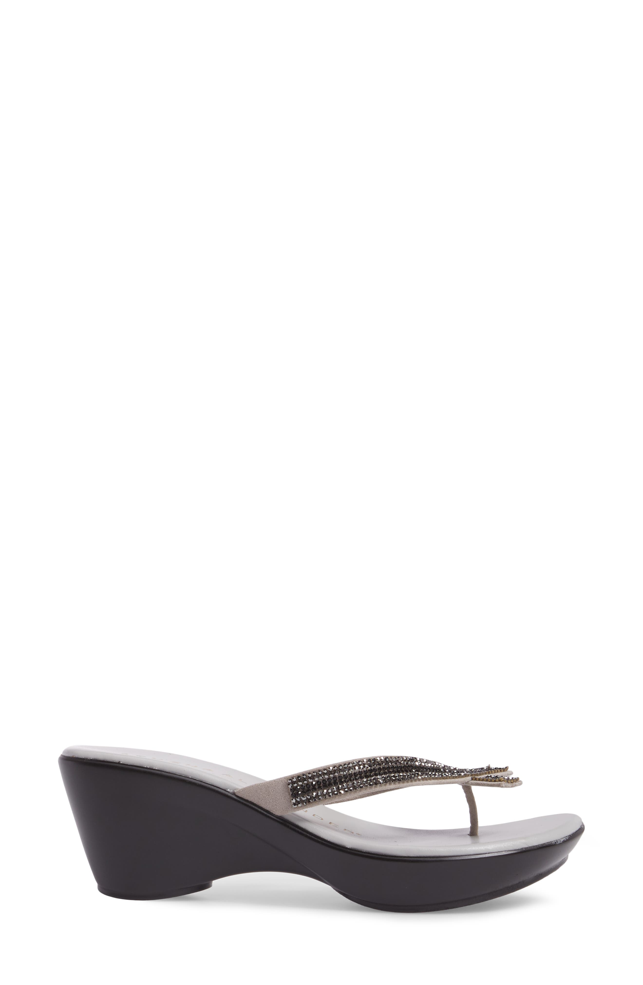 Sienna Wedge Sandal,                             Alternate thumbnail 3, color,                             Grey Synthetic