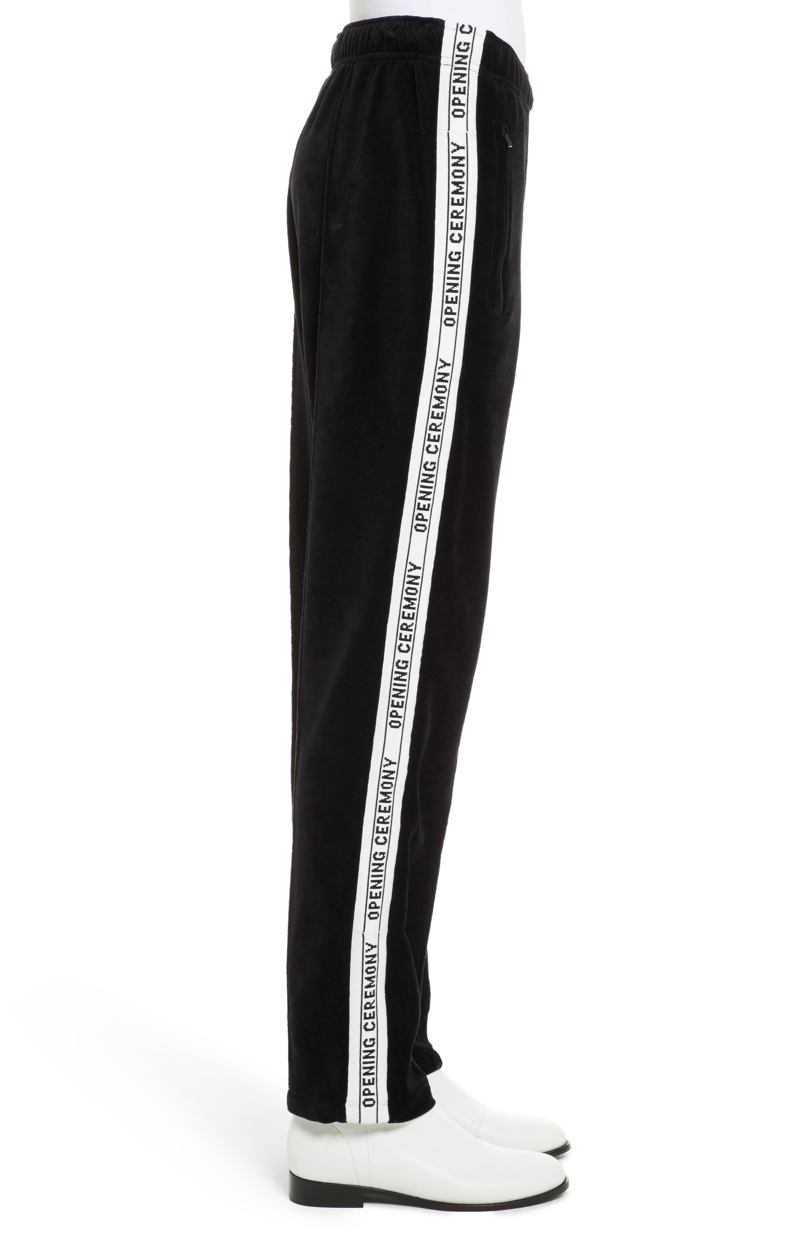 Logo Tape Velour Track Pants,                             Alternate thumbnail 3, color,                             Black