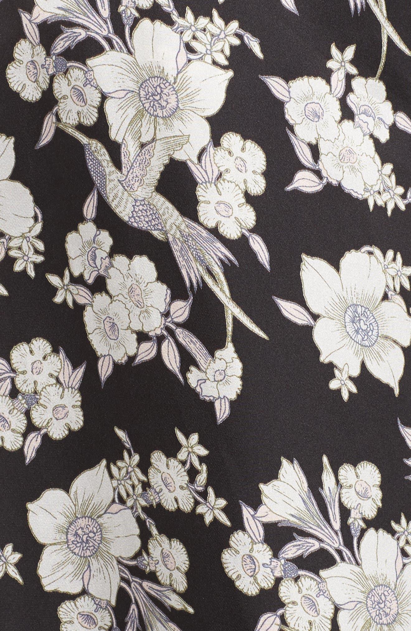 Birdee Wide Leg Pants,                             Alternate thumbnail 5, color,                             Black Floral