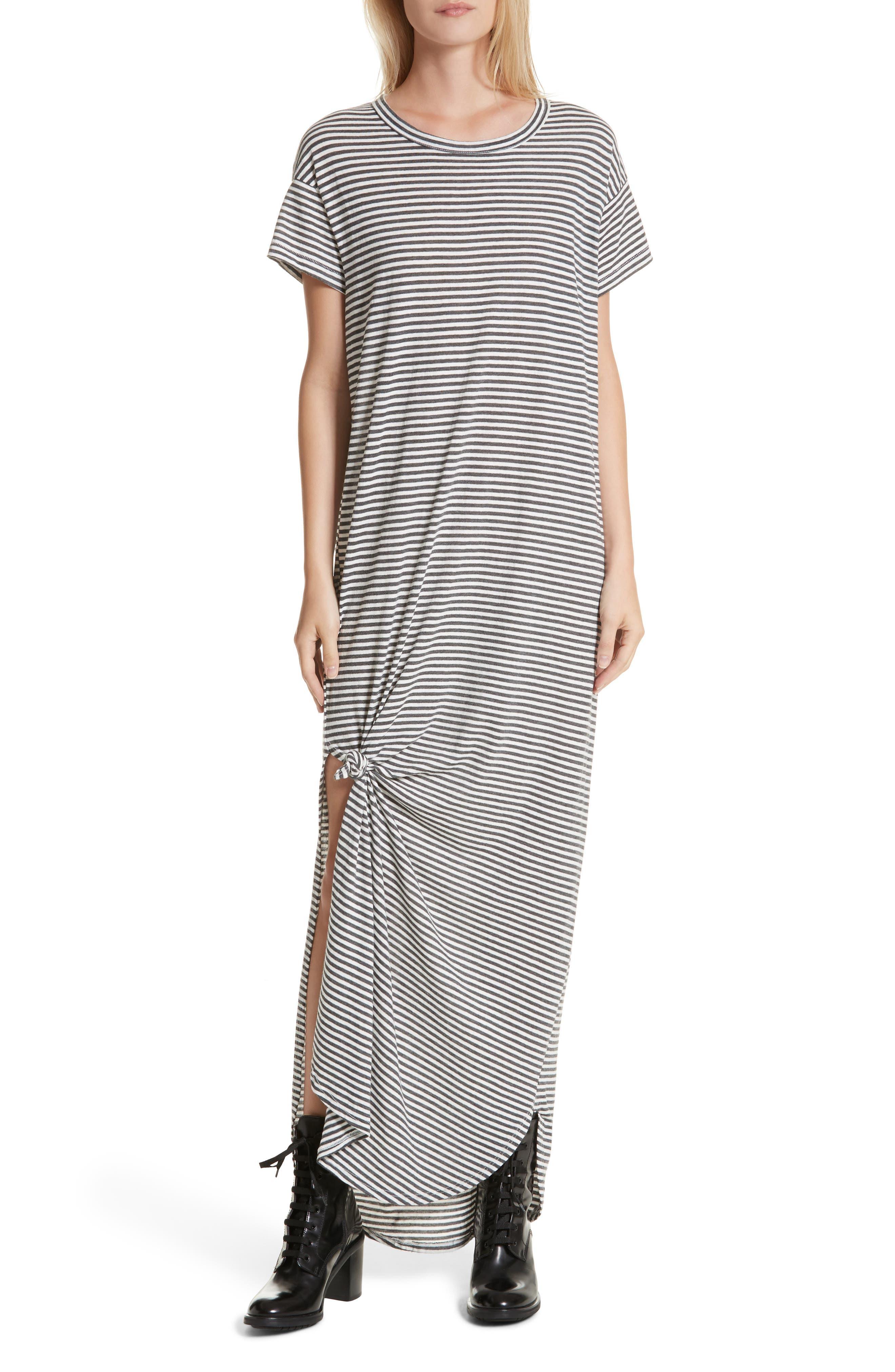 The Knotted Tee Dress,                         Main,                         color, Smoke Stripe