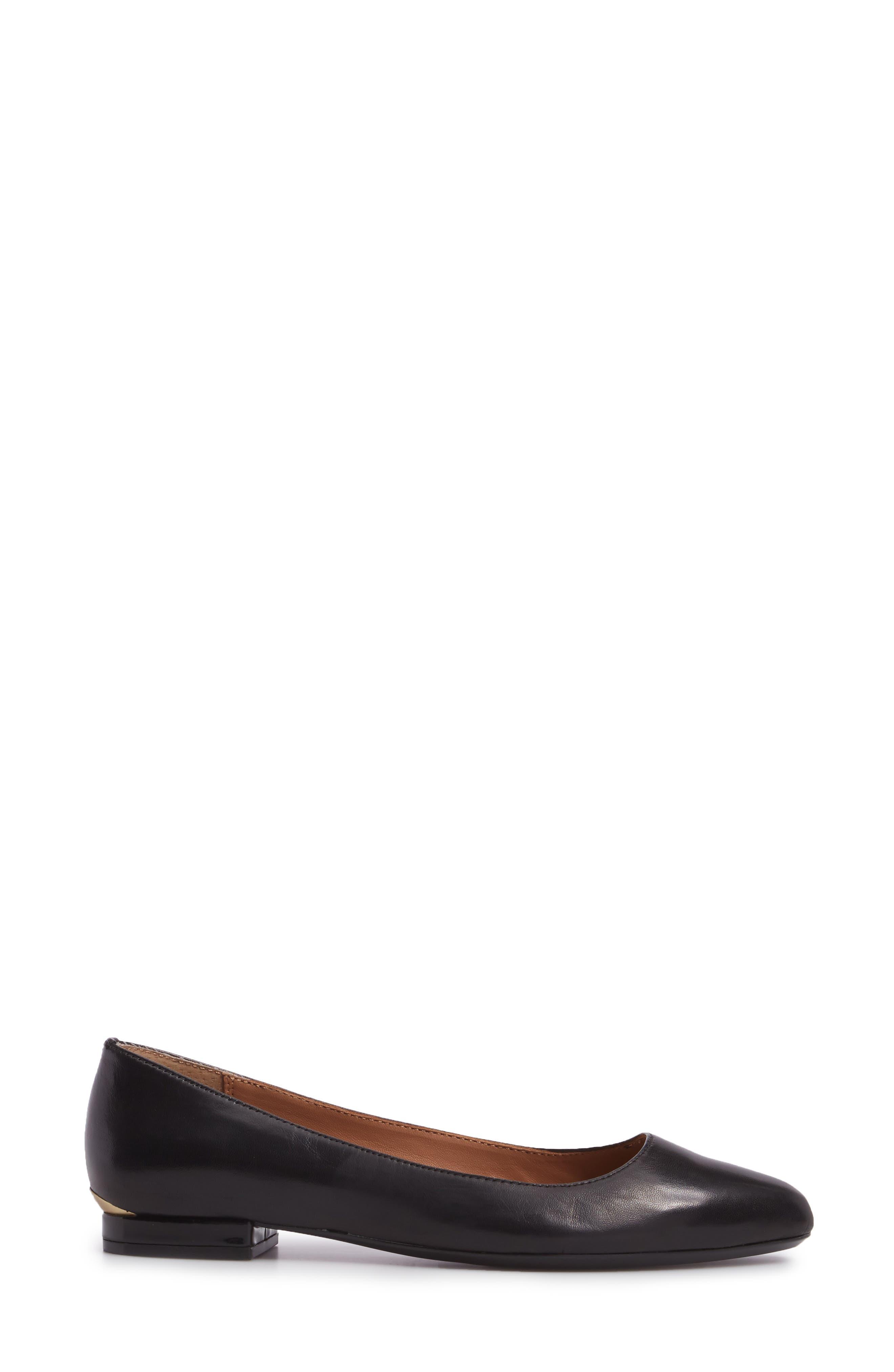Gredel Flat,                             Alternate thumbnail 3, color,                             Black Leather