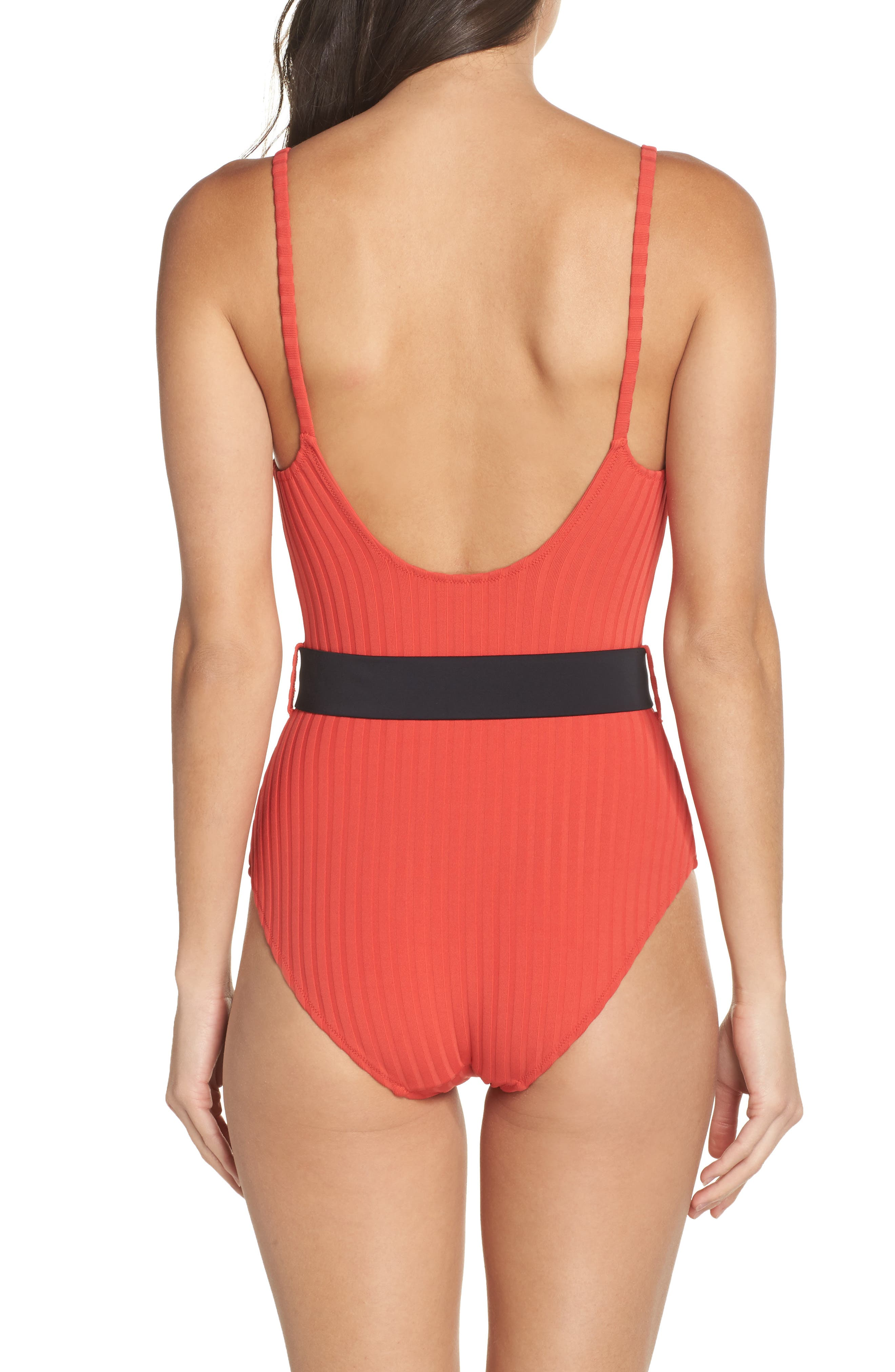 The Nina One-Piece Swimsuit,                             Alternate thumbnail 2, color,                             Red Rib