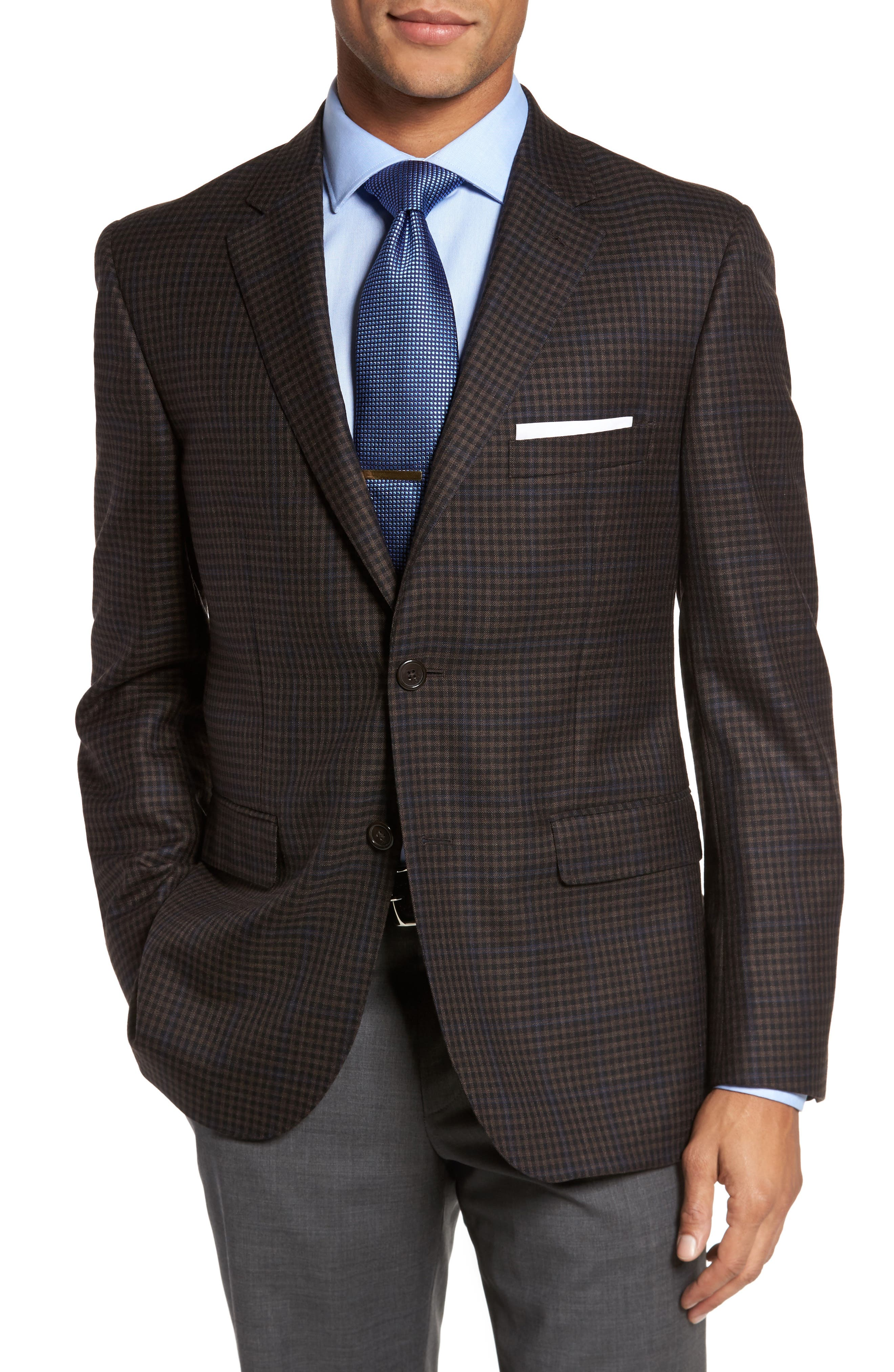 Classic Fit Plaid Wool Sport Coat,                             Main thumbnail 1, color,                             Brown