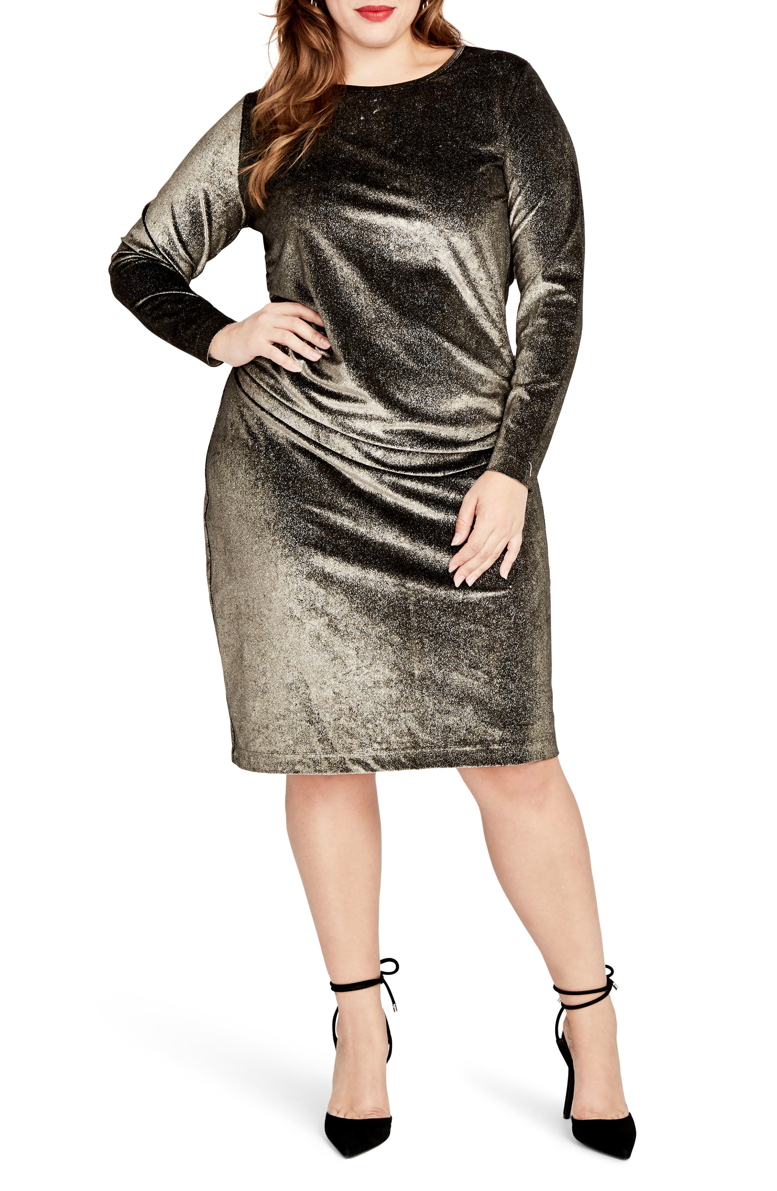 Draped Metallic Sheath Dress,                             Main thumbnail 1, color,                             Gold