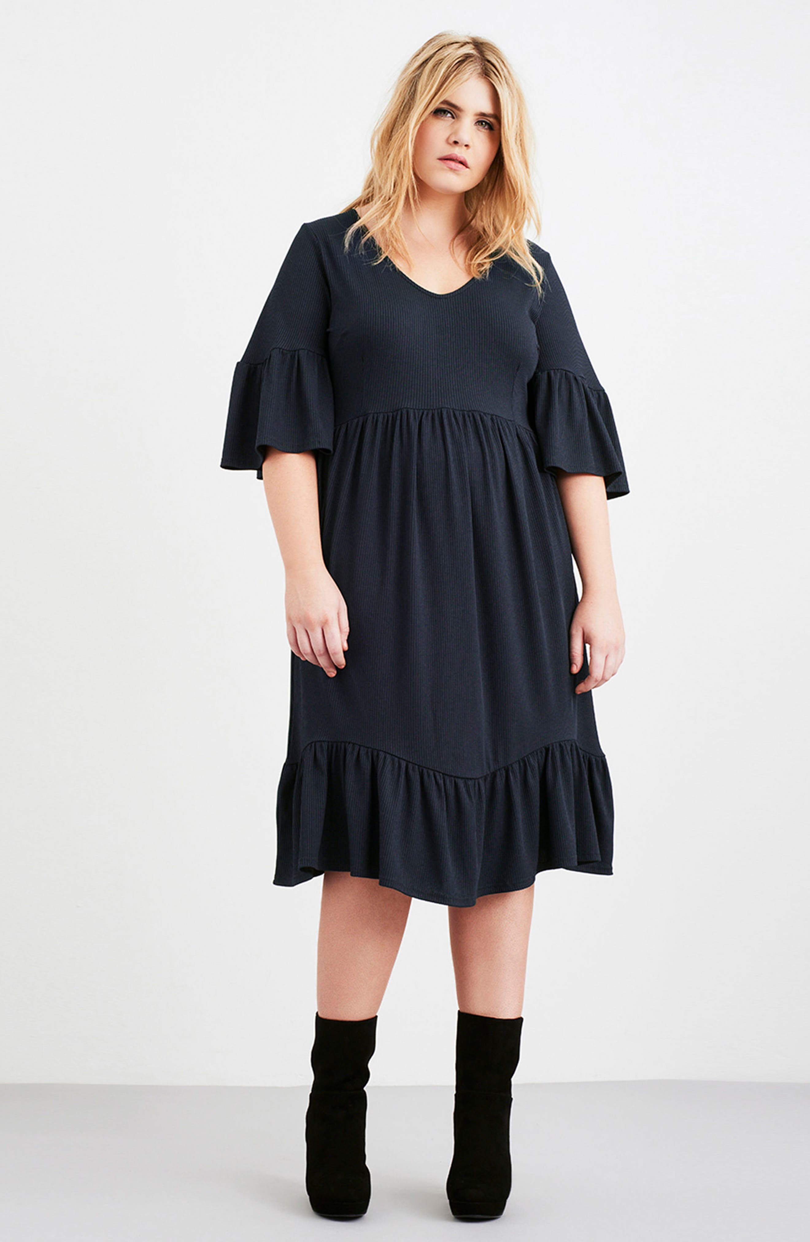 Alternate Image 2  - LOST INK Ruffle Ribbed Knit Dress (Plus Size)