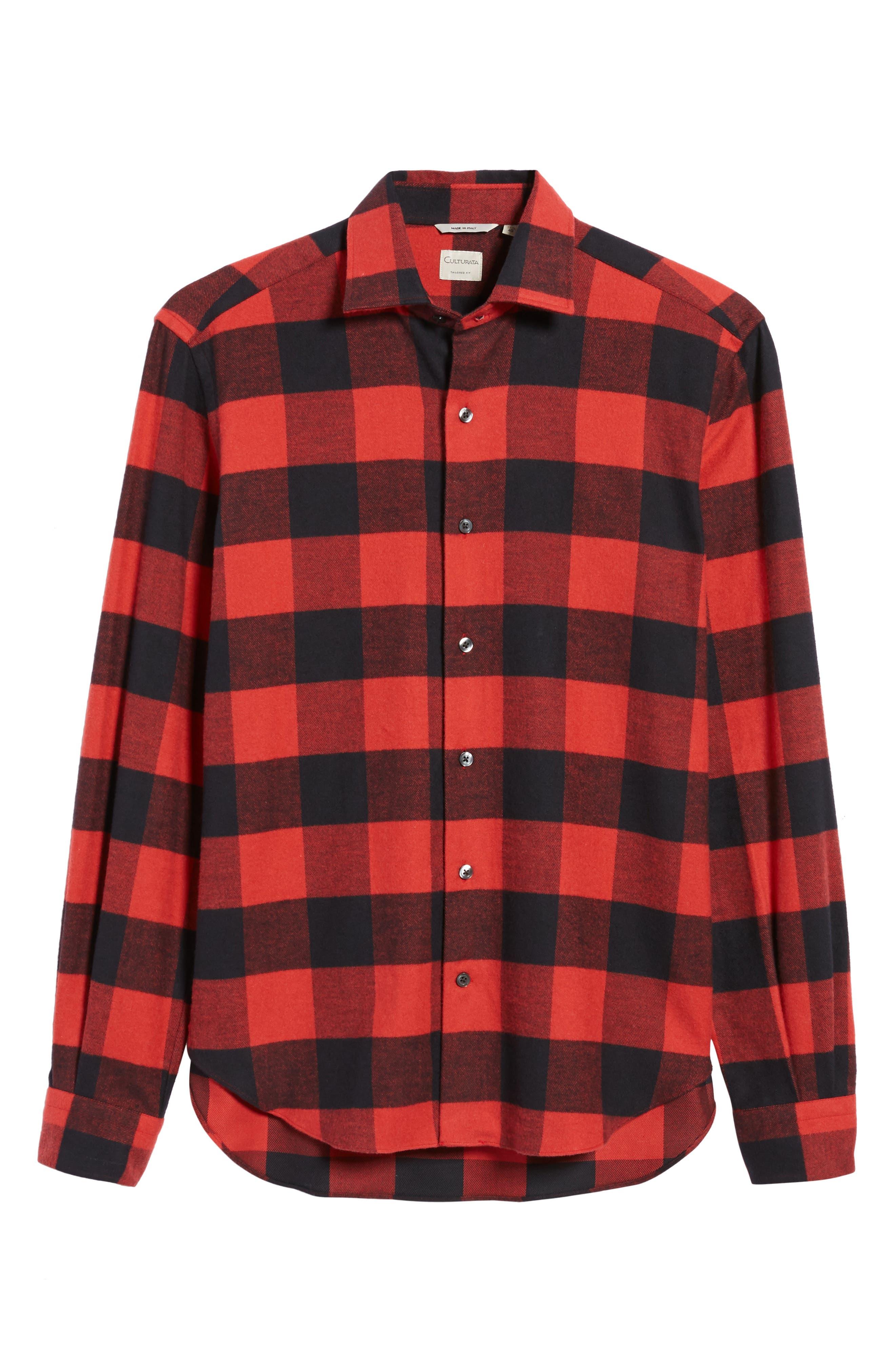 Slim Fit Buffalo Plaid Sport Shirt,                             Alternate thumbnail 6, color,                             Red