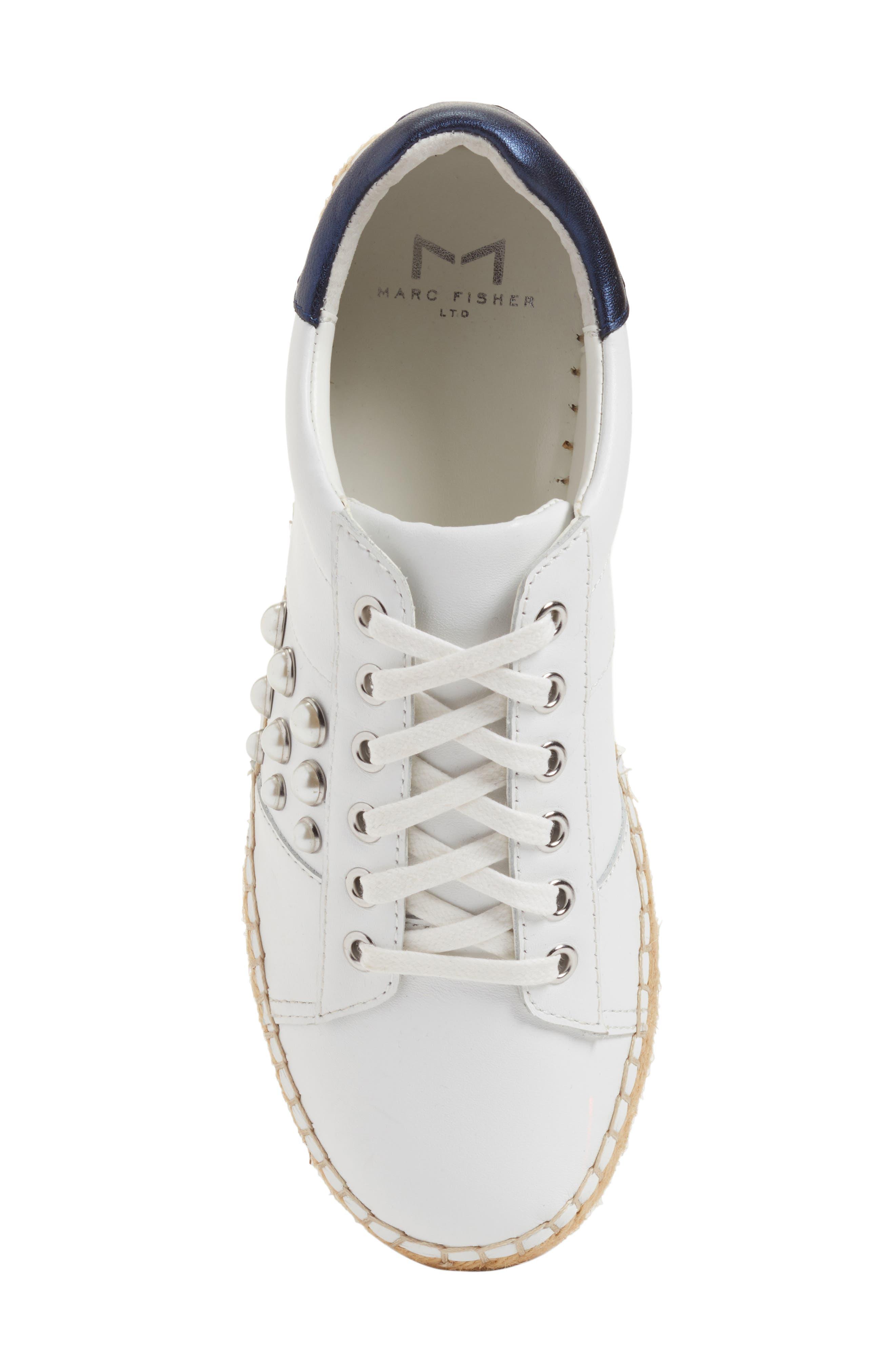 Marge Espadrille Platform Sneaker,                             Alternate thumbnail 5, color,                             White/ Navy Leather