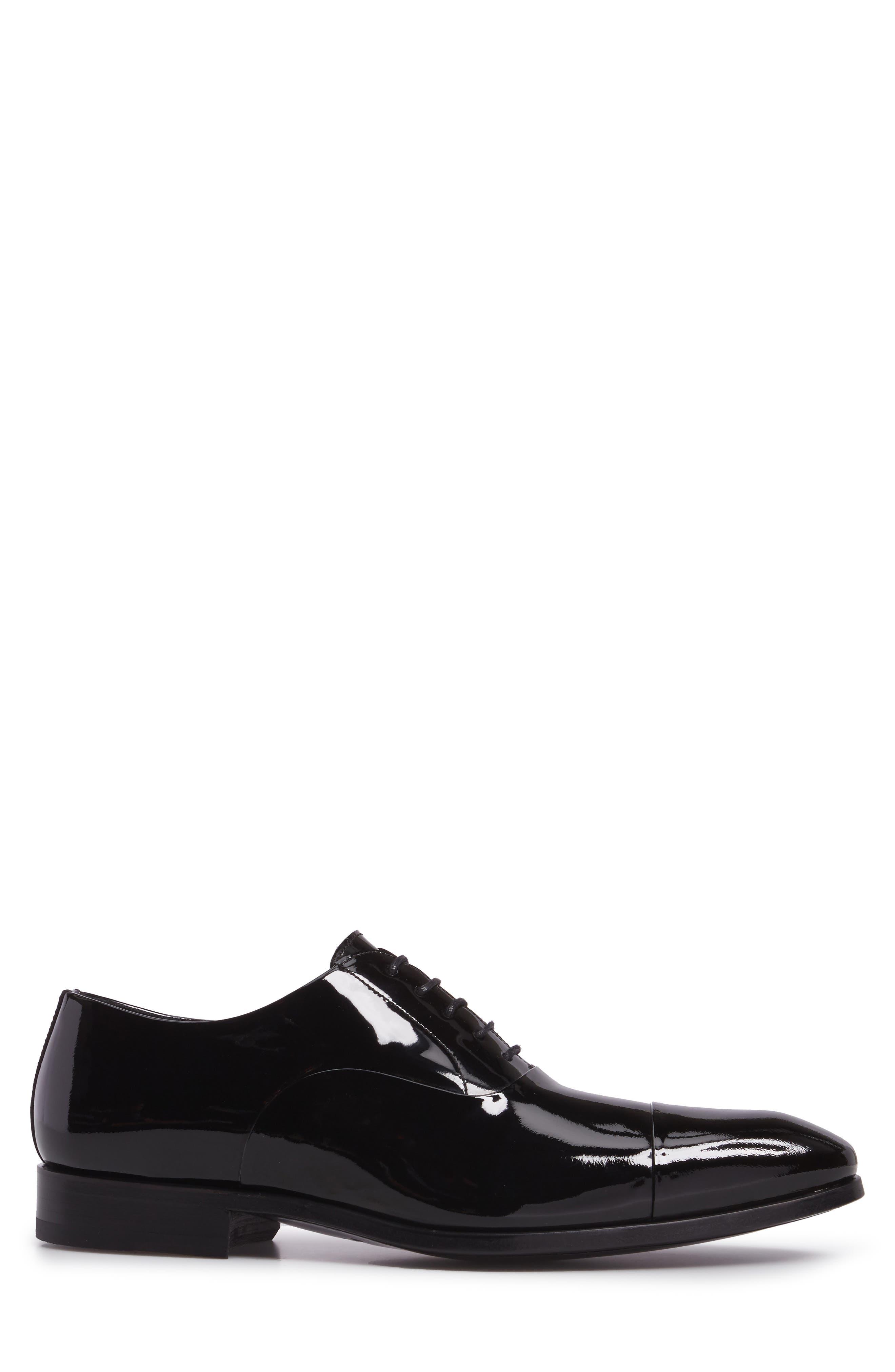 Davian Cap Toe Oxford,                             Alternate thumbnail 3, color,                             Black Patent