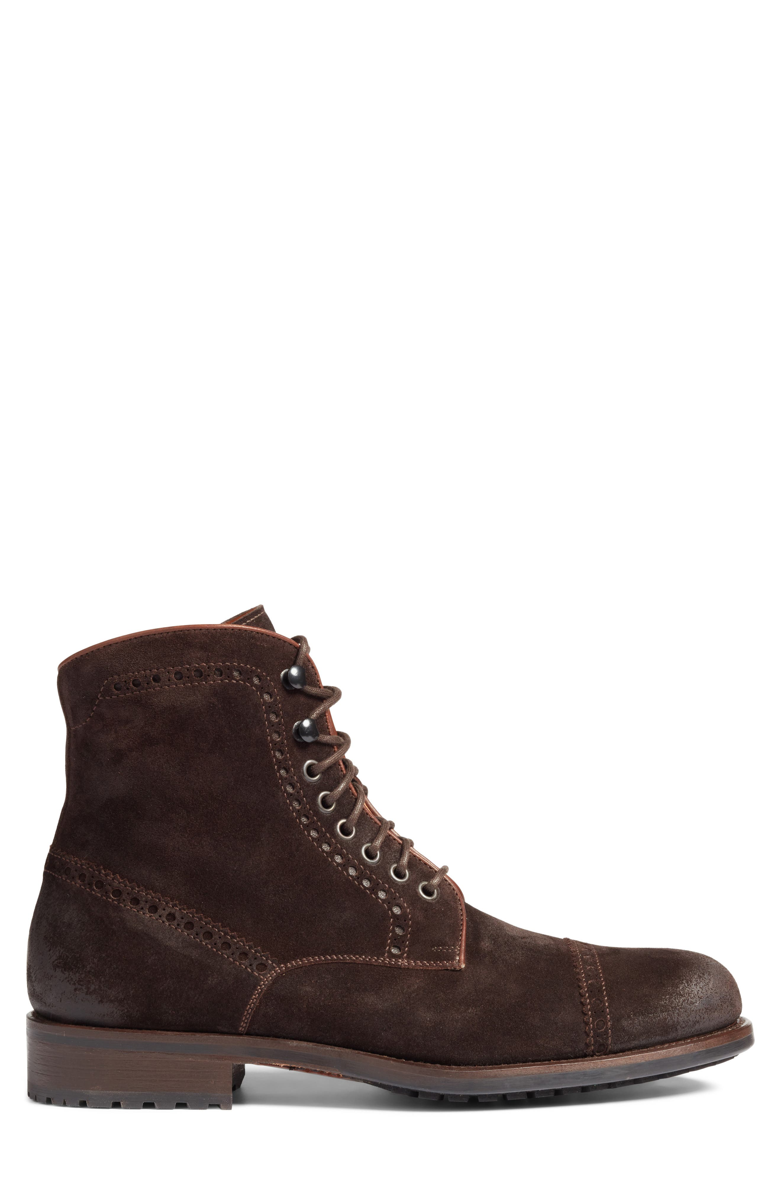 Palmer Cap Toe Boot,                             Alternate thumbnail 3, color,                             Brown Suede