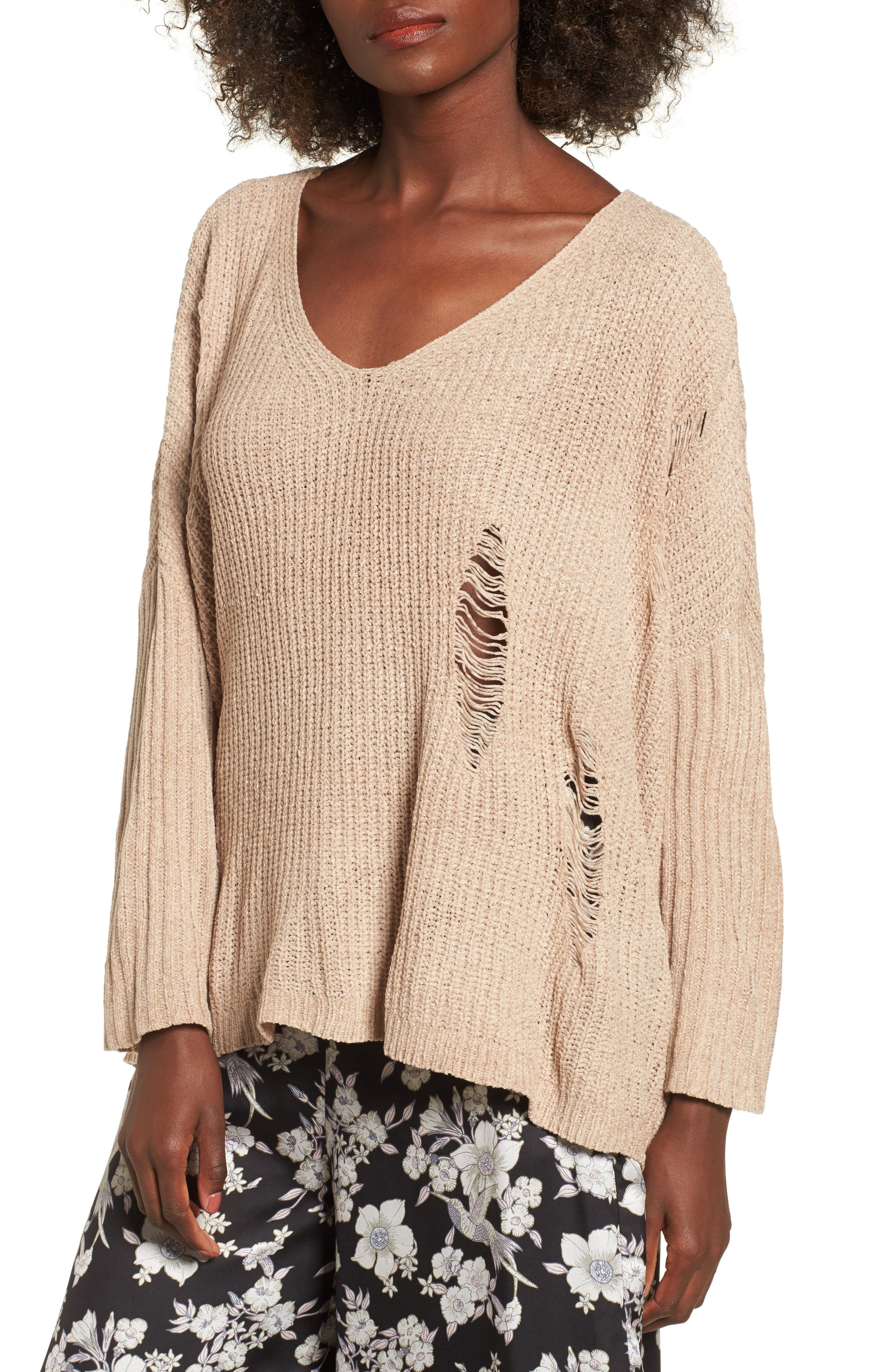Lily Rose Distressed Sweater,                             Main thumbnail 1, color,                             Stone