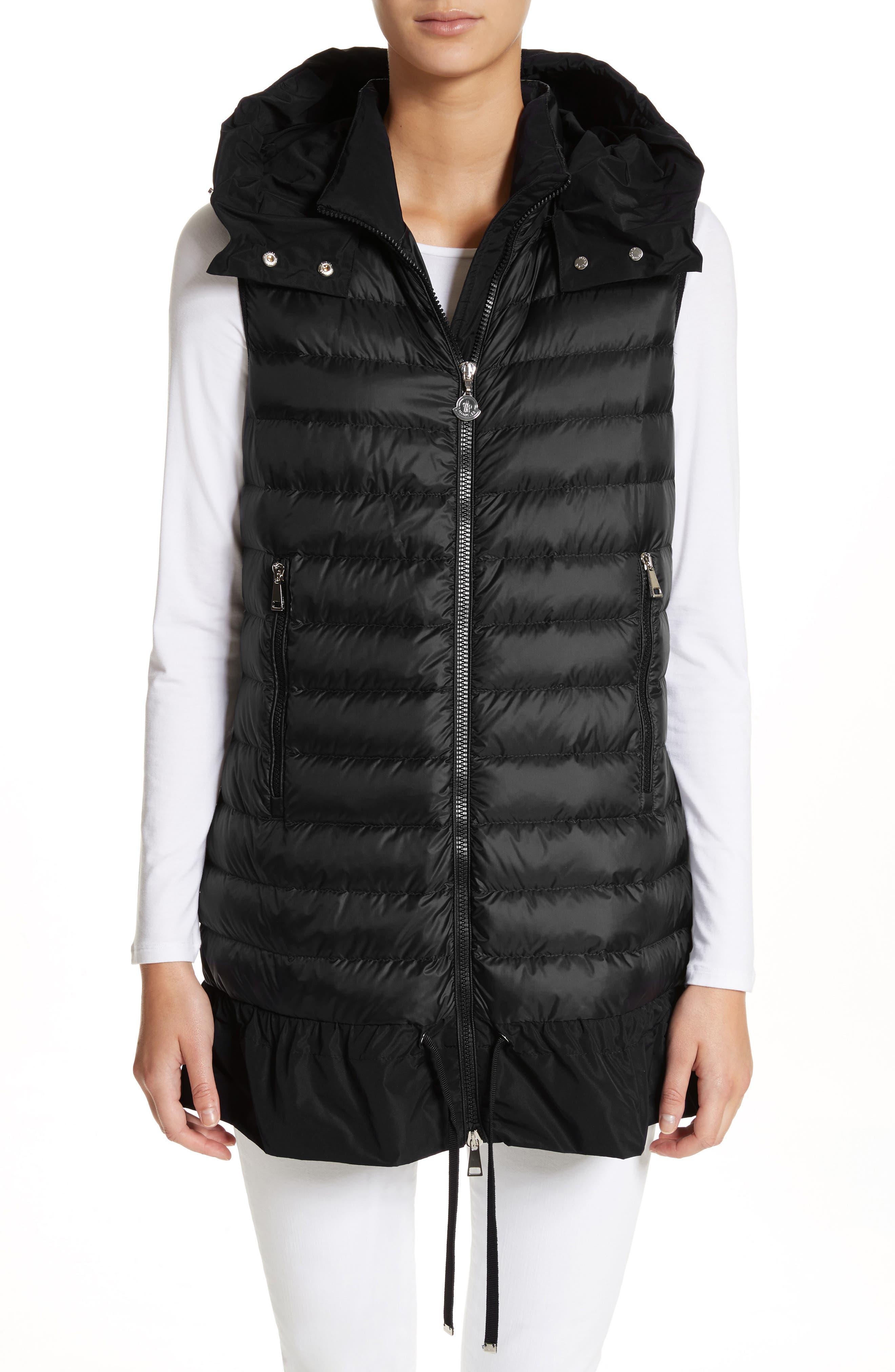 Quilted Peplum Vest,                         Main,                         color, Black