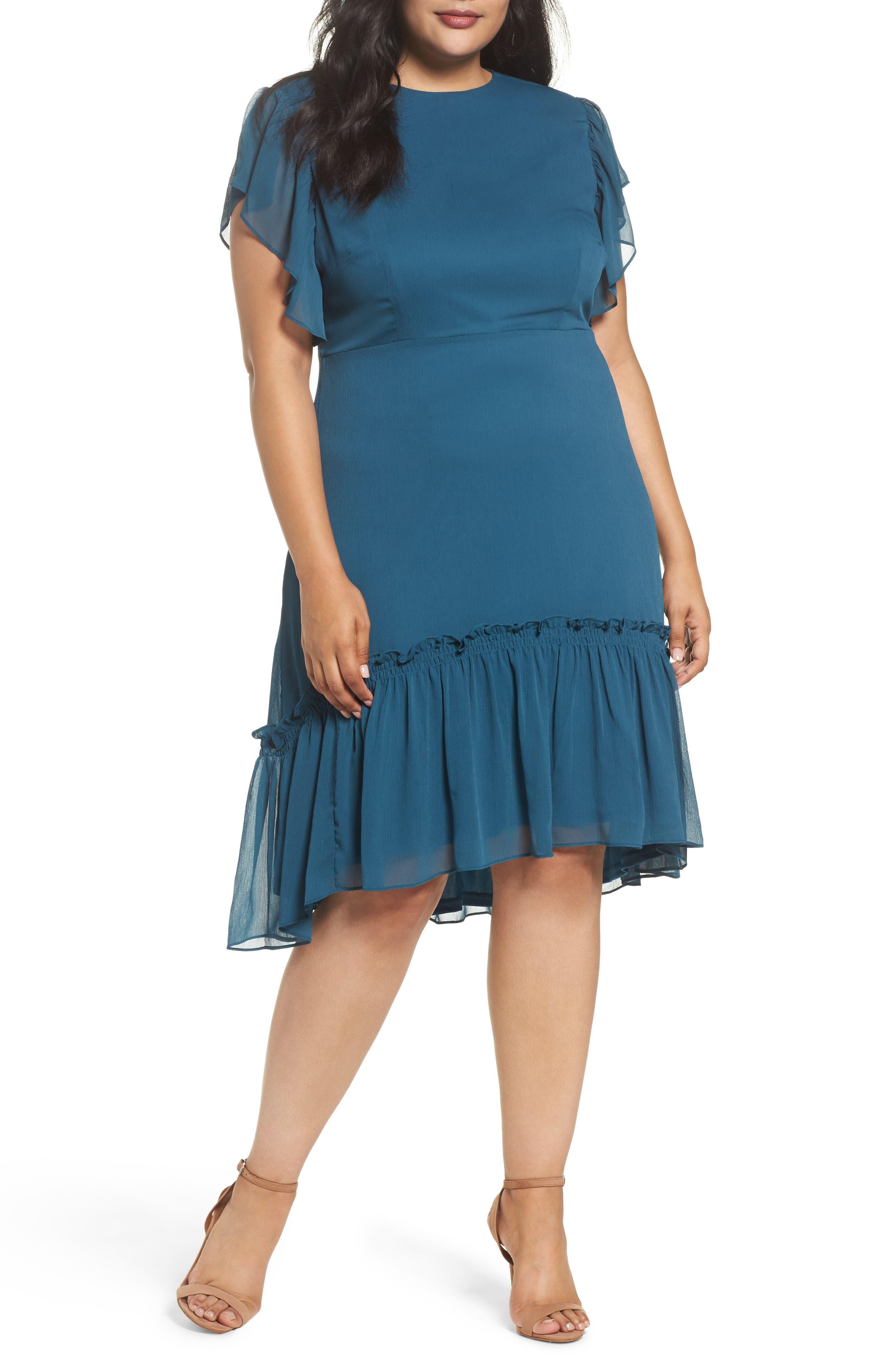 Ruffled High/Low A-Line Dress,                             Main thumbnail 1, color,                             Green