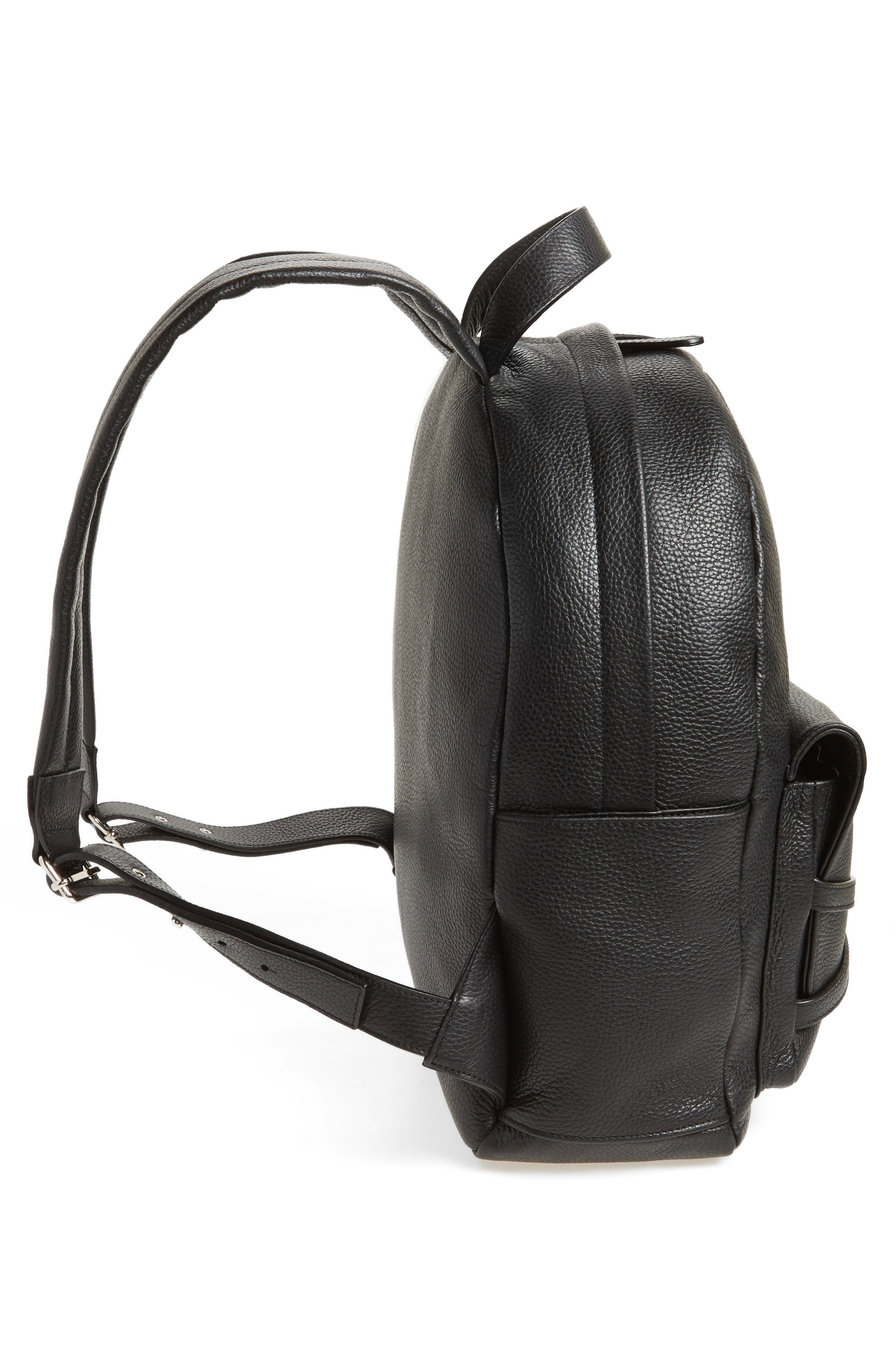 Leather Backpack,                             Alternate thumbnail 5, color,                             Black