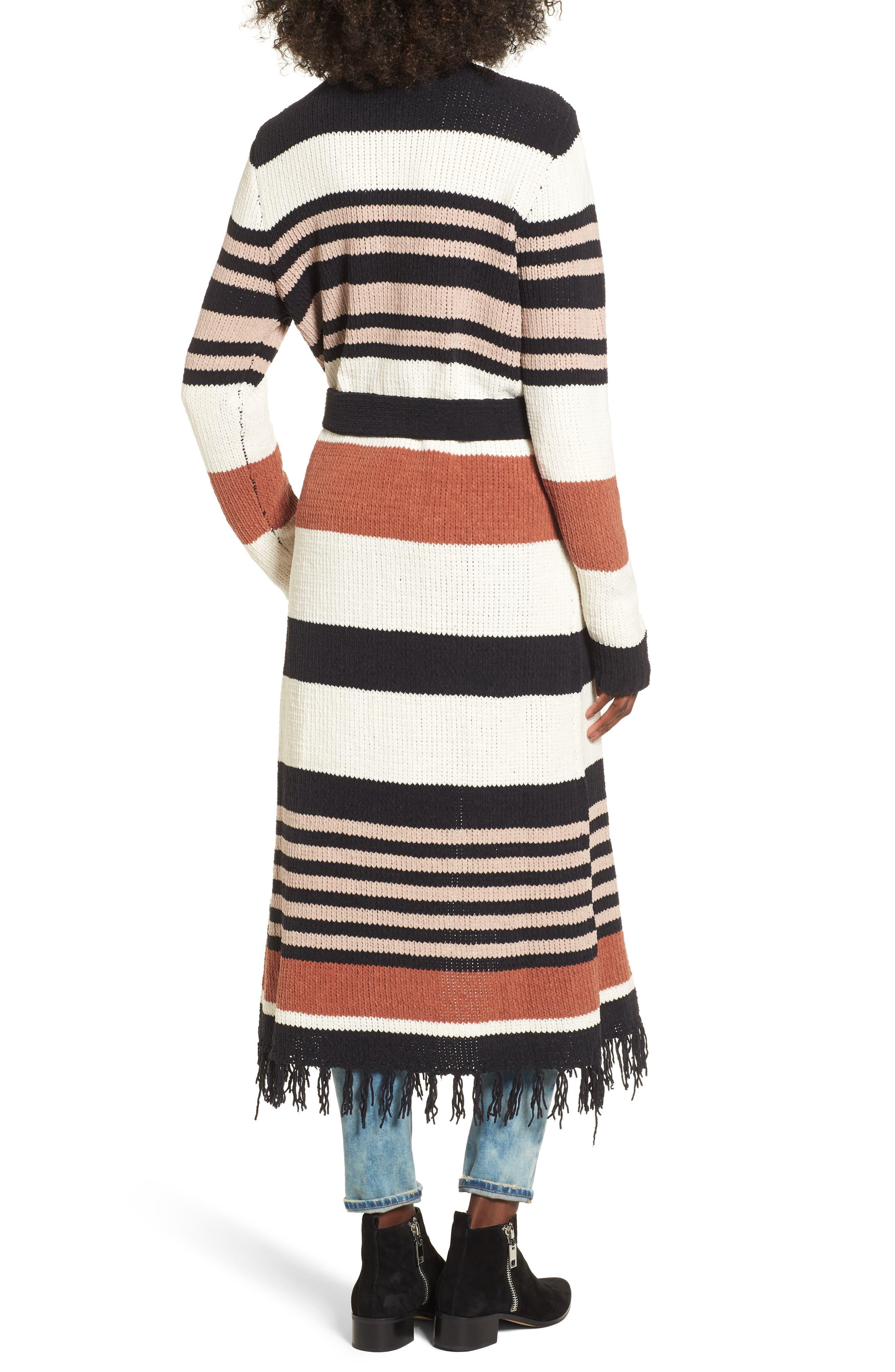 Belted Stripe Knit Duster,                             Alternate thumbnail 2, color,                             Black Stripe