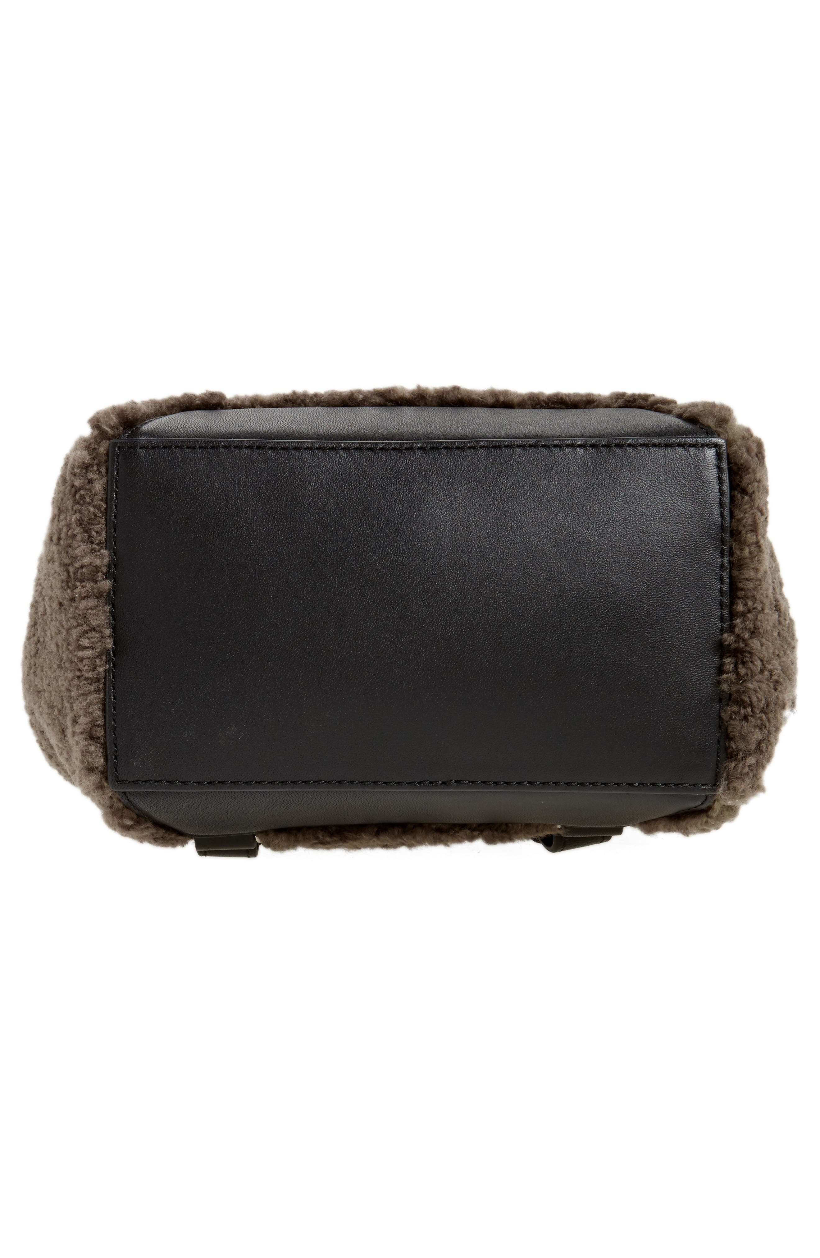 Small Pilot Leather & Genuine Shearling Backpack,                             Alternate thumbnail 6, color,                             Granite Shearling