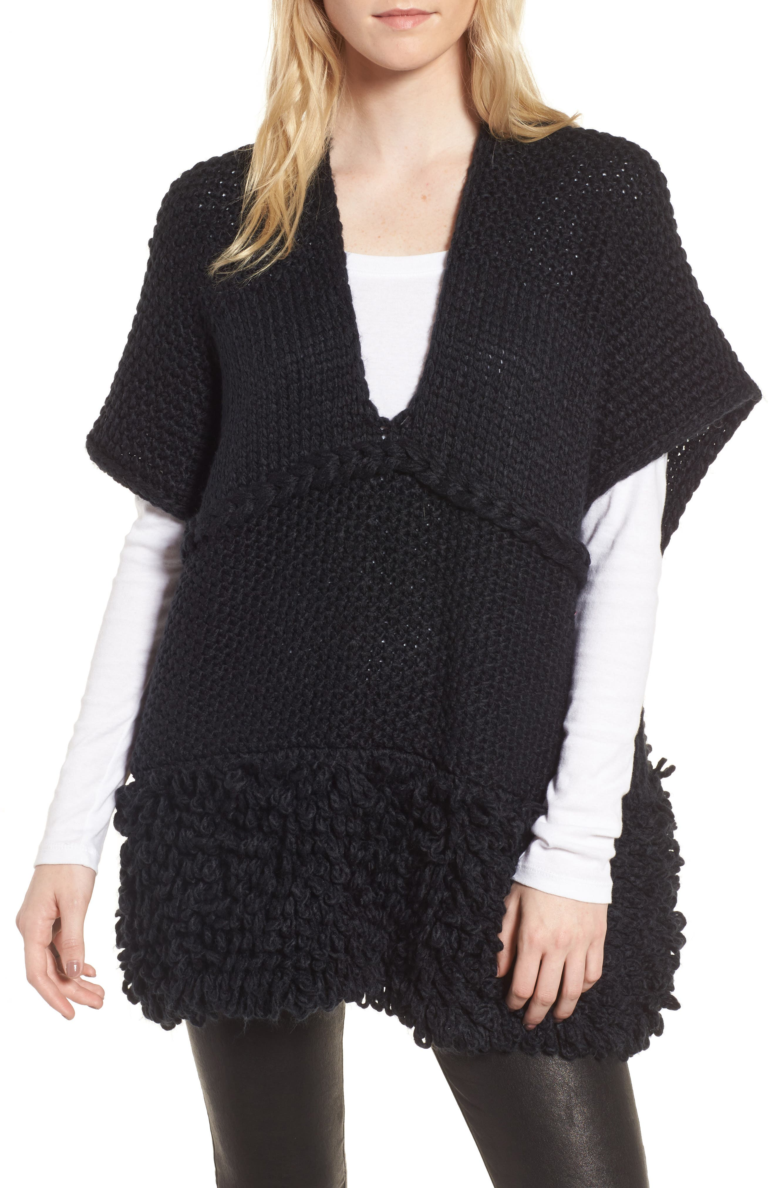 Knit Poncho,                             Main thumbnail 1, color,                             Black