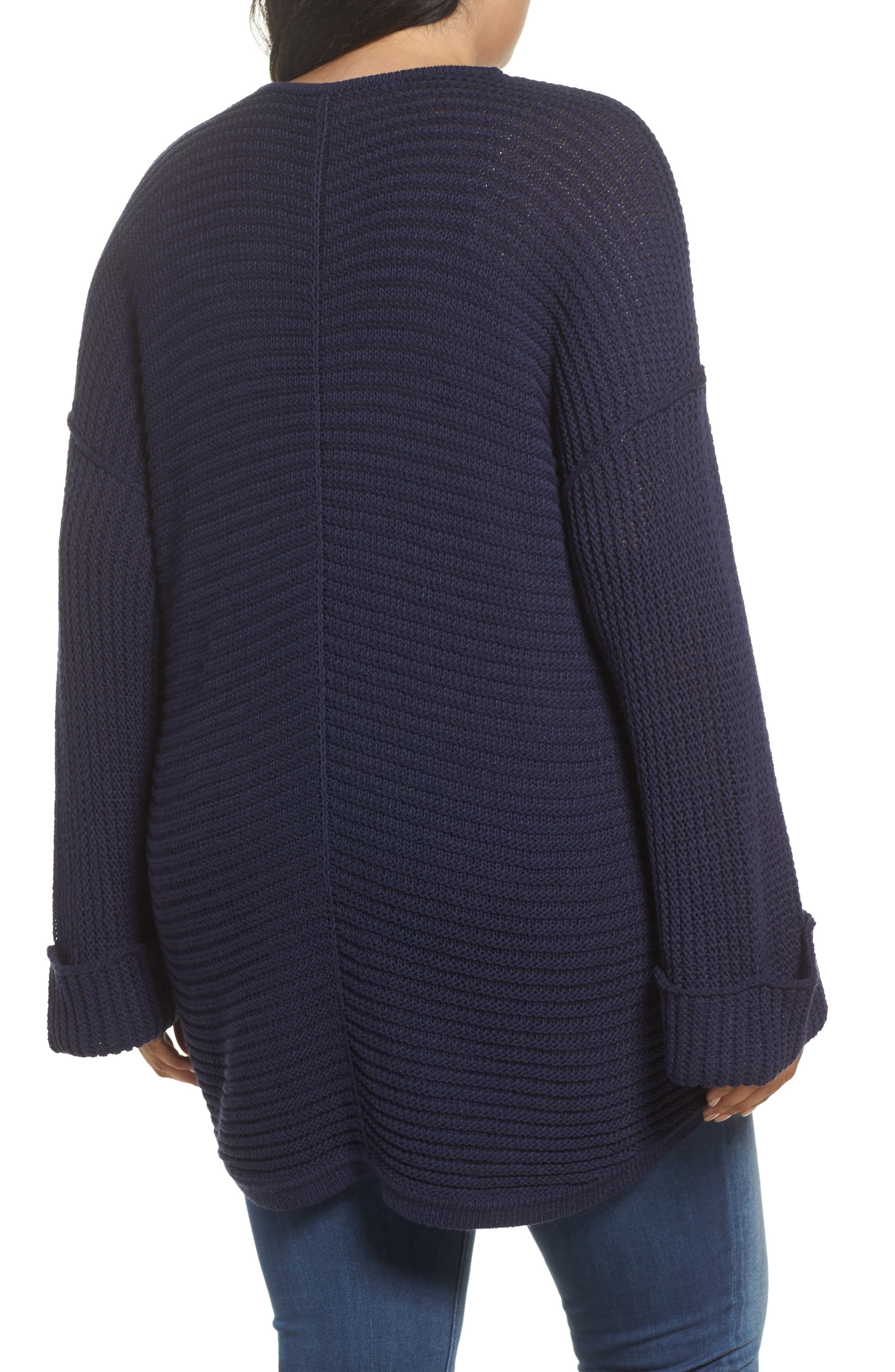 Cuffed Bell Sleeve Sweater,                             Alternate thumbnail 2, color,                             Navy Peacoat