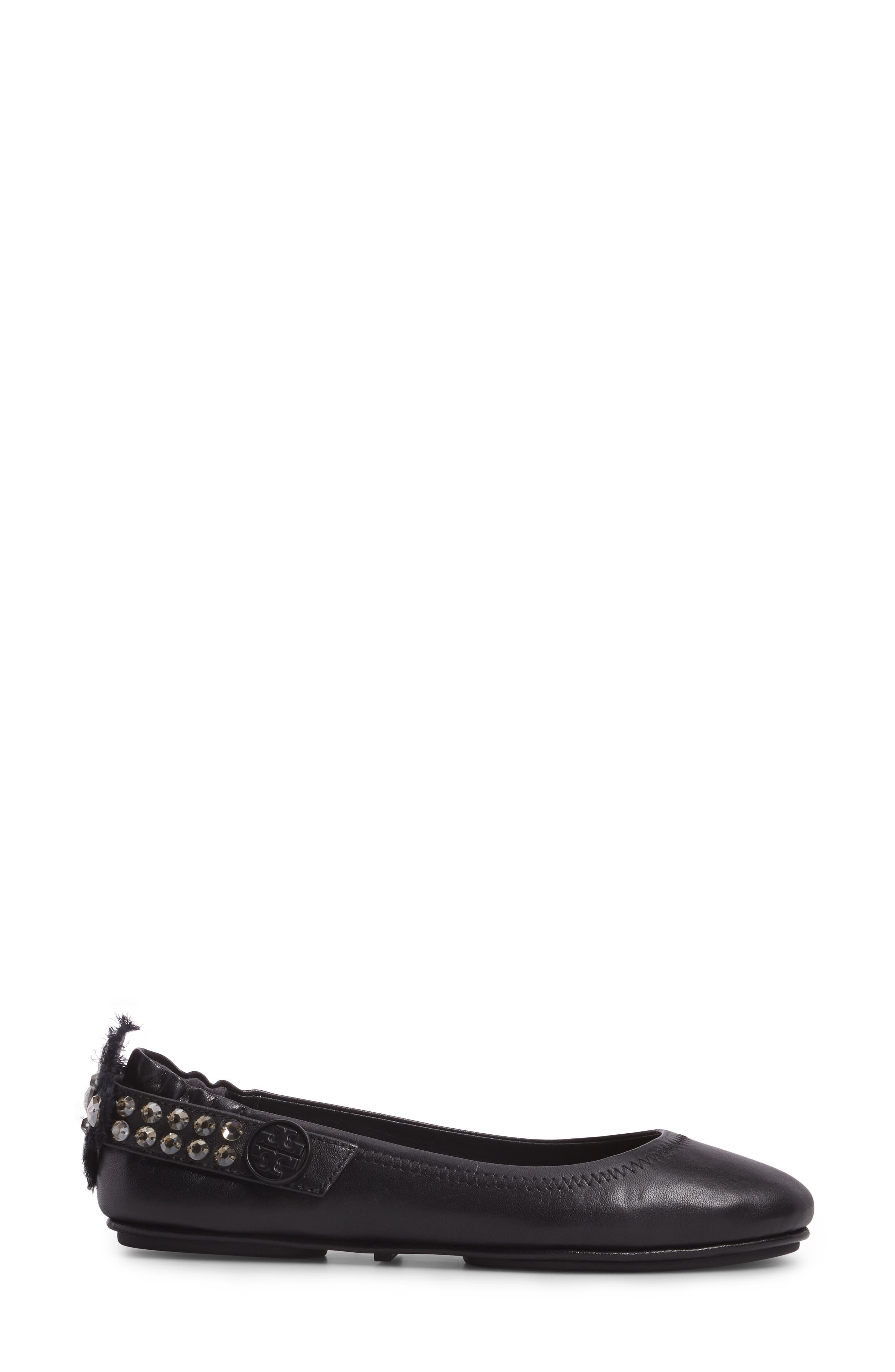 Minnie Embellished Convertible Strap Ballet Flat,                             Alternate thumbnail 3, color,                             Black/ Clear