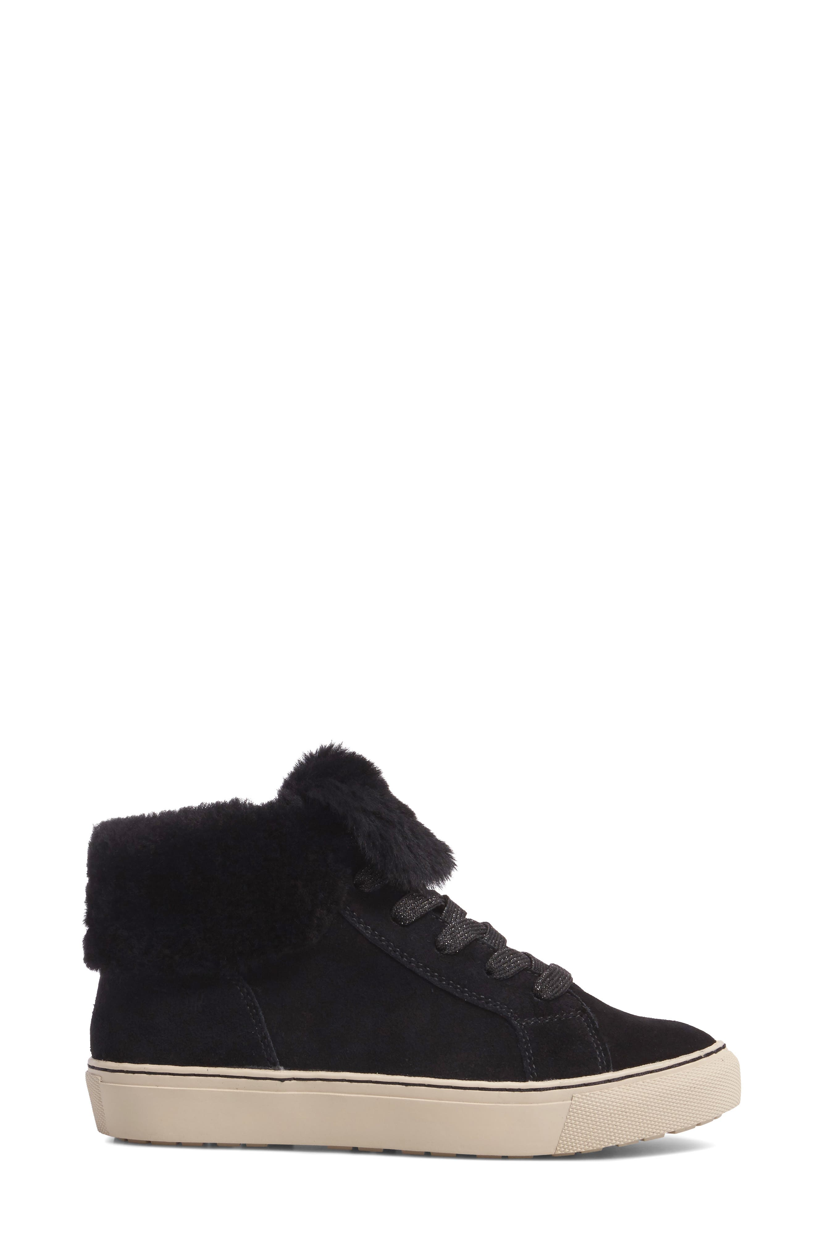 Downey Waterproof Genuine Shearling Sneaker,                             Alternate thumbnail 3, color,                             Black Suede