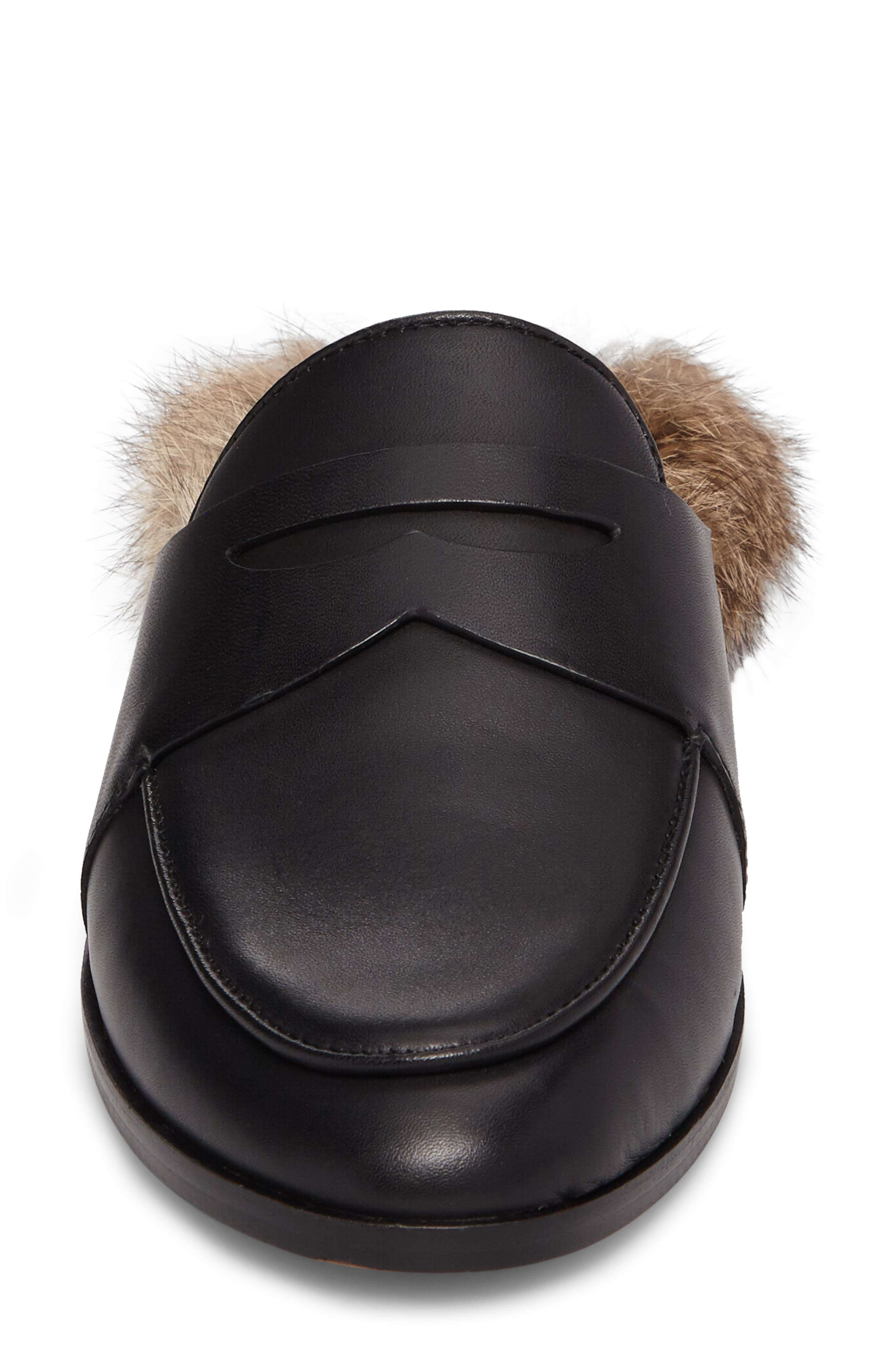 Dugan II Genuine Rabbit Fur Mule,                             Alternate thumbnail 4, color,                             Black Leather