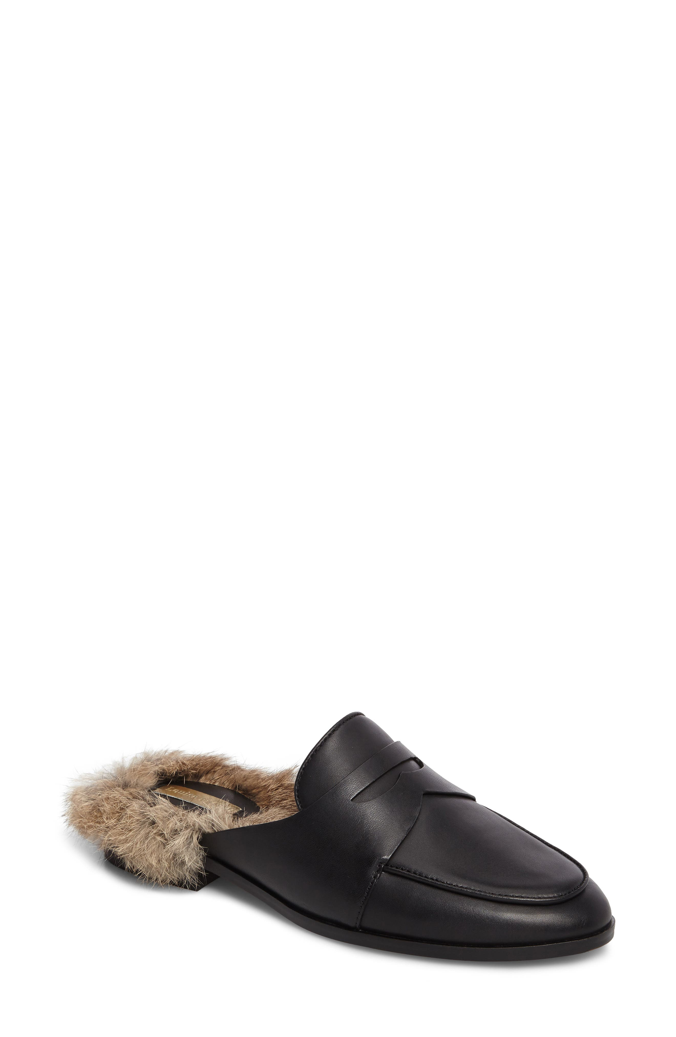 Dugan II Genuine Rabbit Fur Mule,                             Main thumbnail 1, color,                             Black Leather