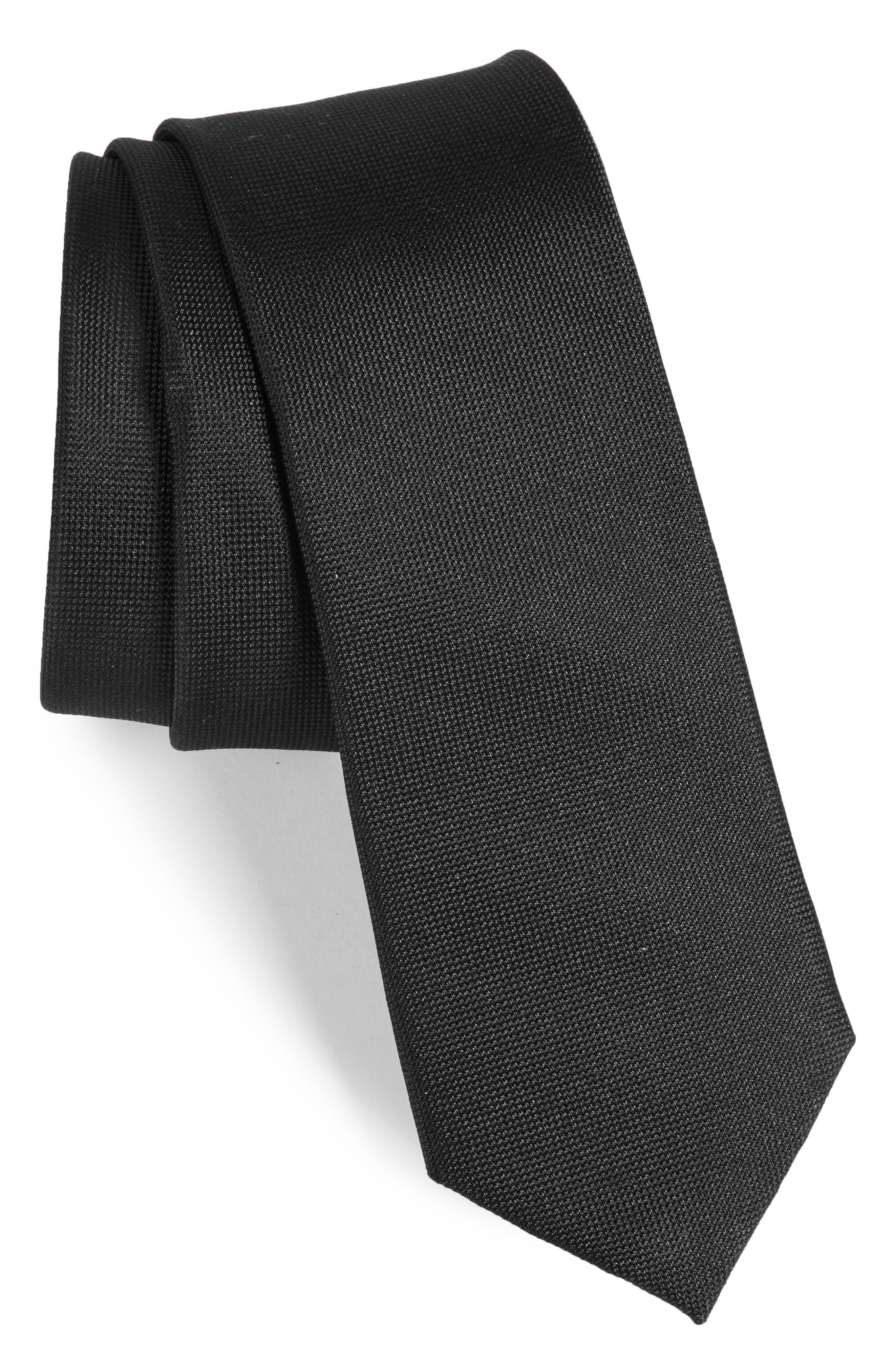 Foley Silk Tie,                         Main,                         color, Onyx
