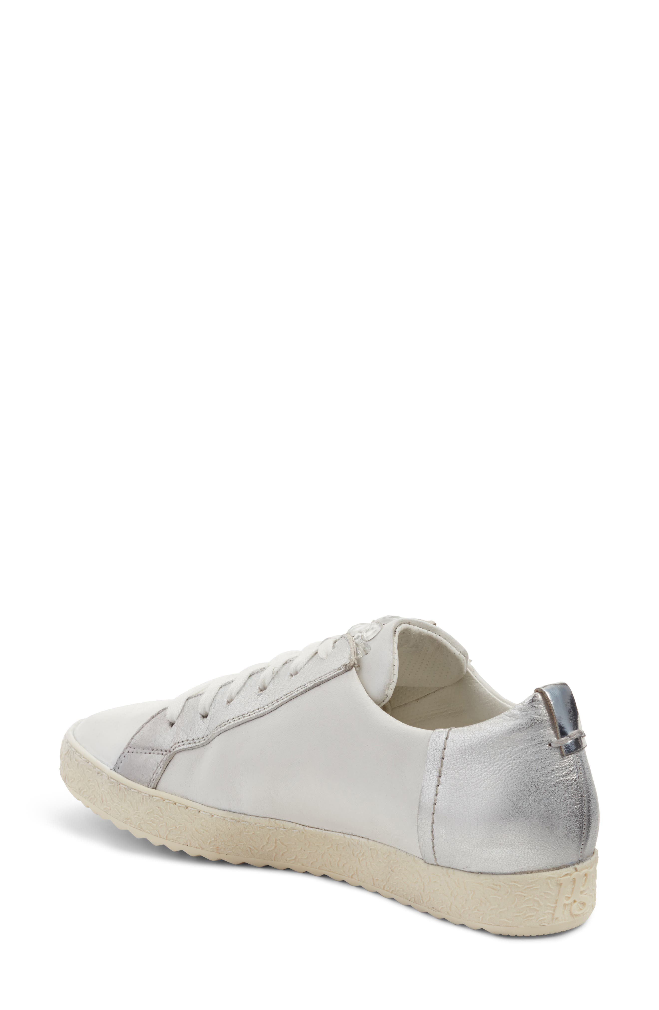 Minnie Sneaker,                             Alternate thumbnail 3, color,                             White/ Silver Leather