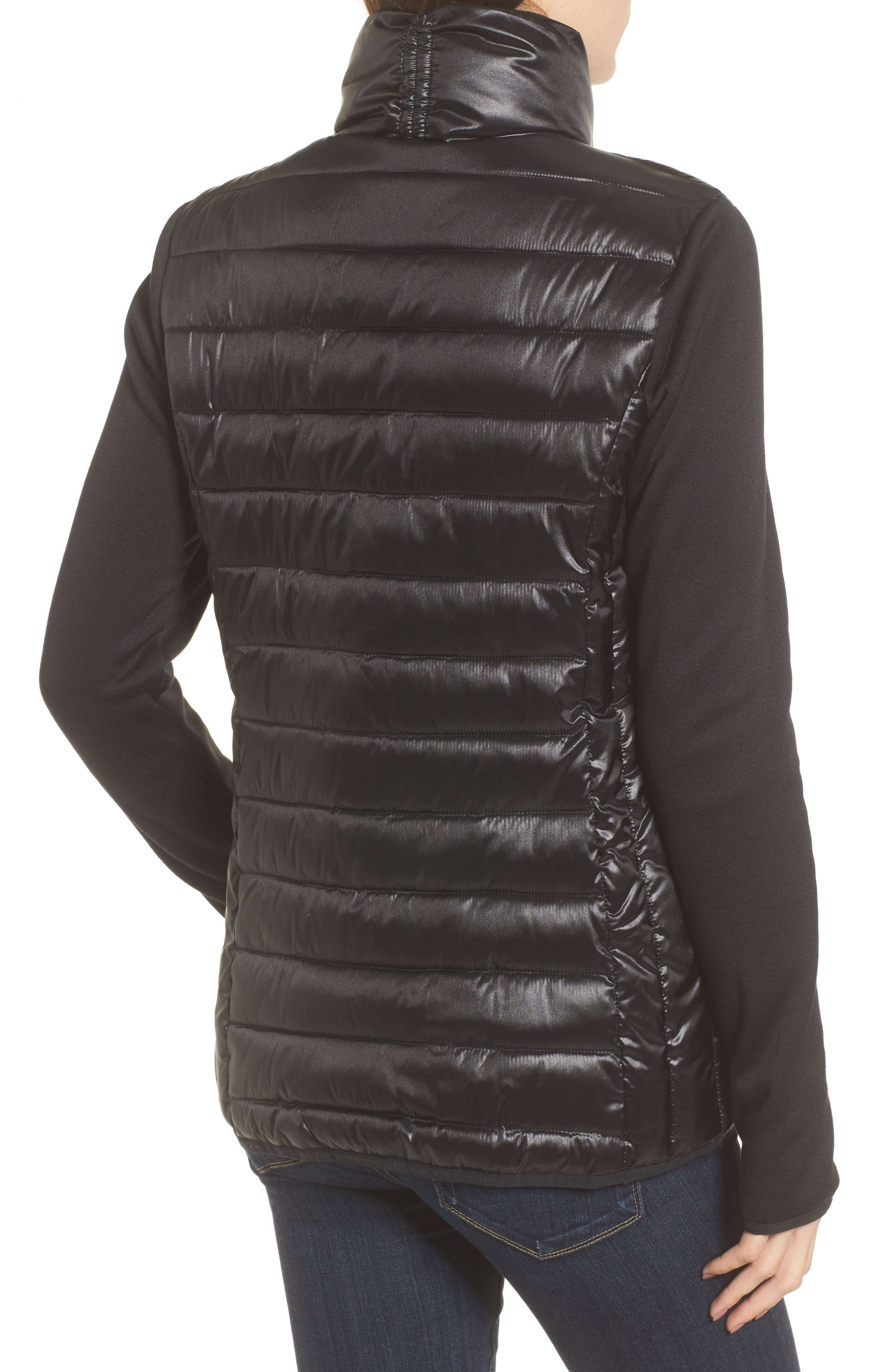 Knit Sleeve Packable Puffer Jacket,                             Alternate thumbnail 2, color,                             Black