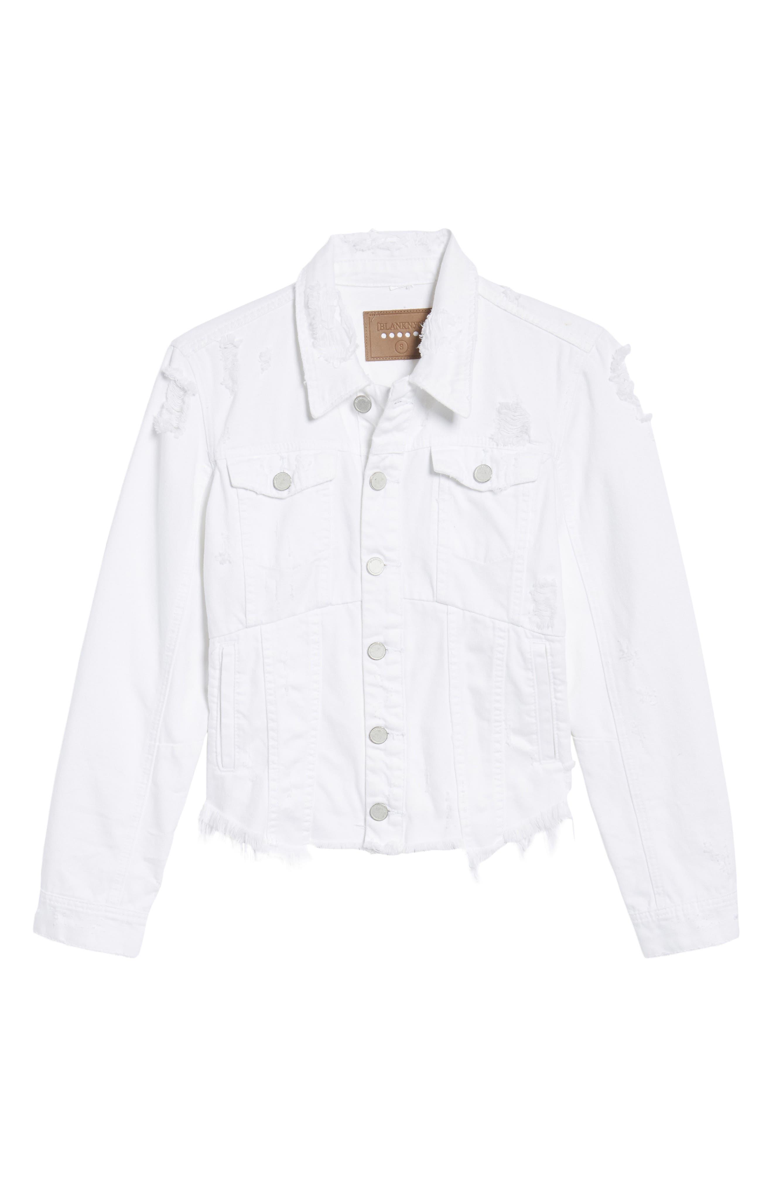 Distressed Denim Jacket,                             Alternate thumbnail 6, color,                             Lightbox White