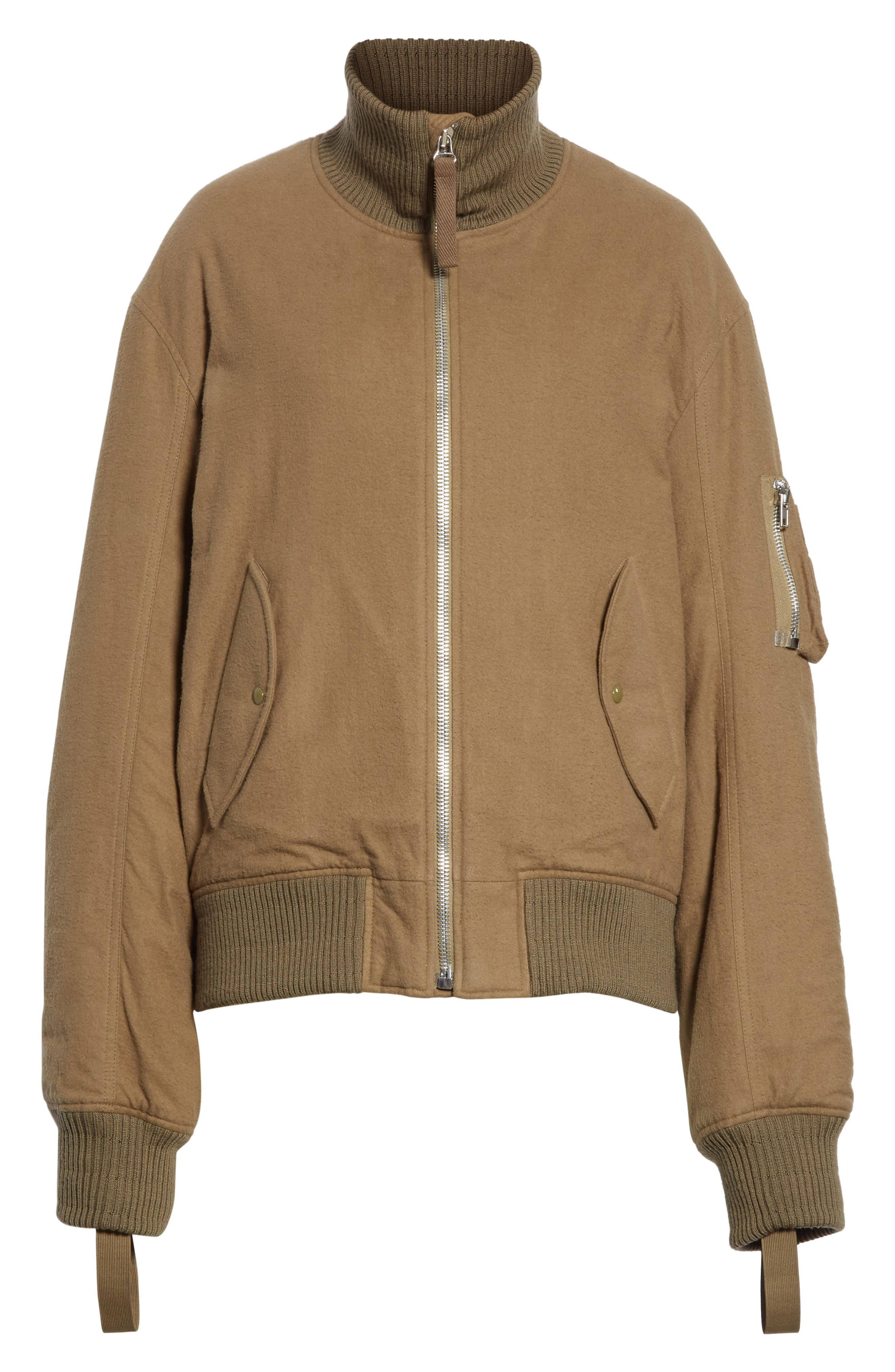 Re-Edition High Collar Bomber Jacket,                             Alternate thumbnail 7, color,                             Army Green