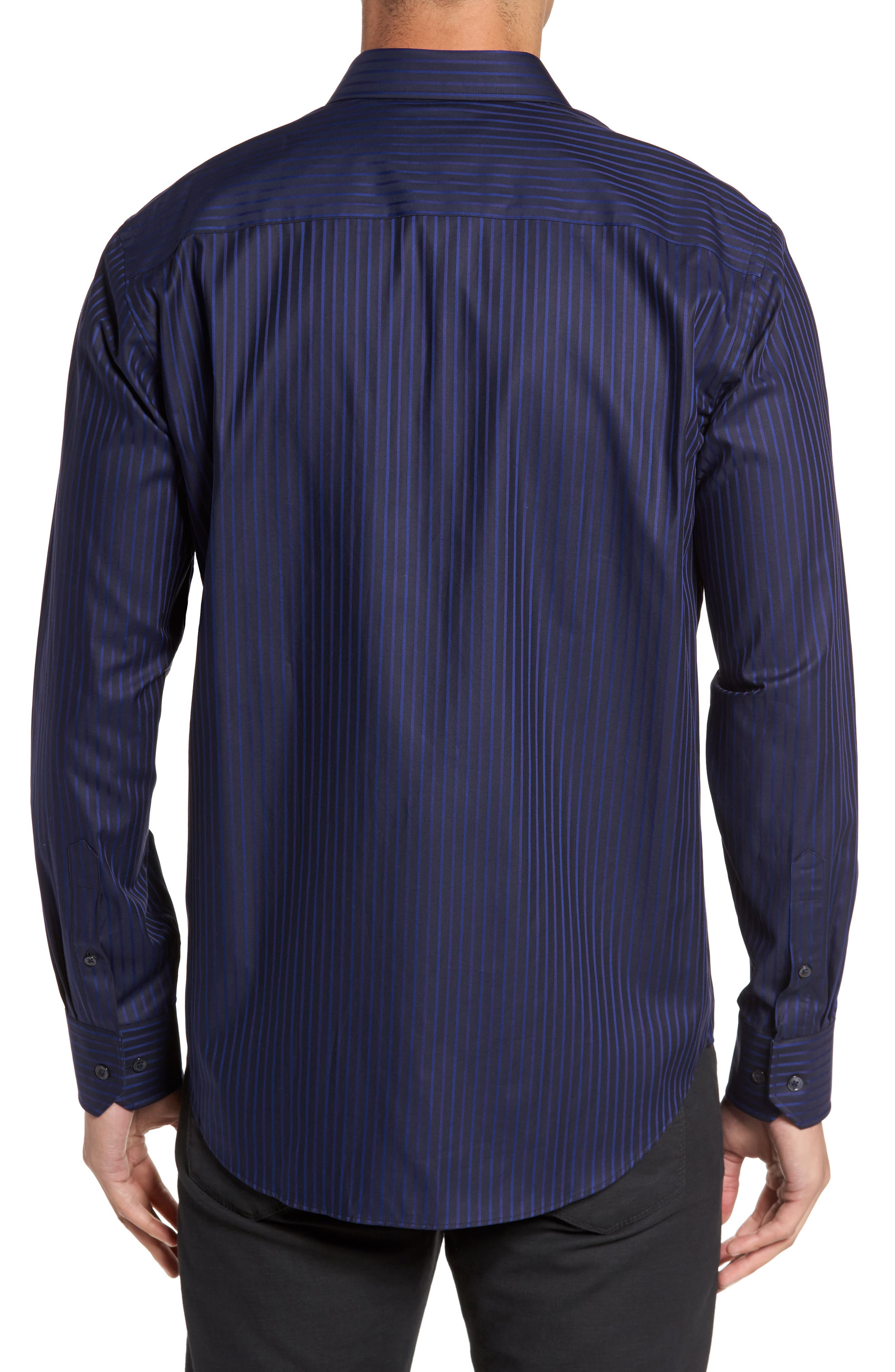 Classic Fit Stripe Sport Shirt,                             Alternate thumbnail 2, color,                             Night Blue
