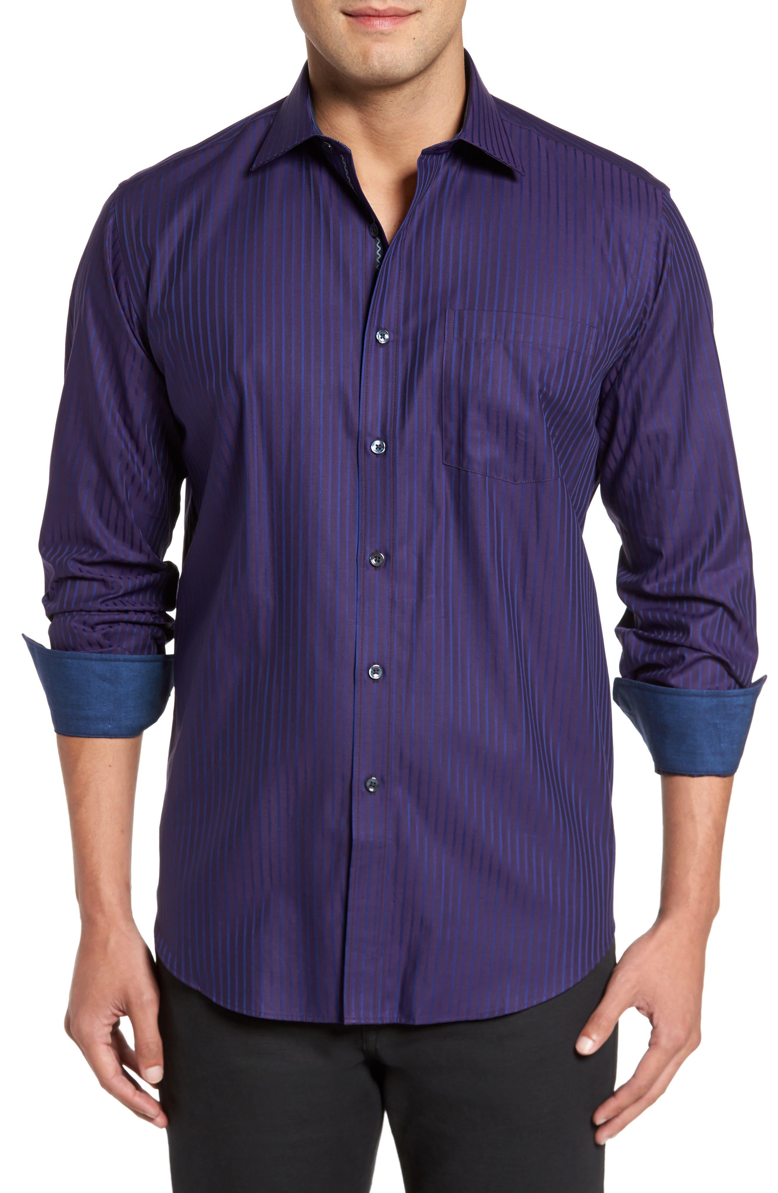 Main Image - Bugatchi Classic Fit Stripe Sport Shirt