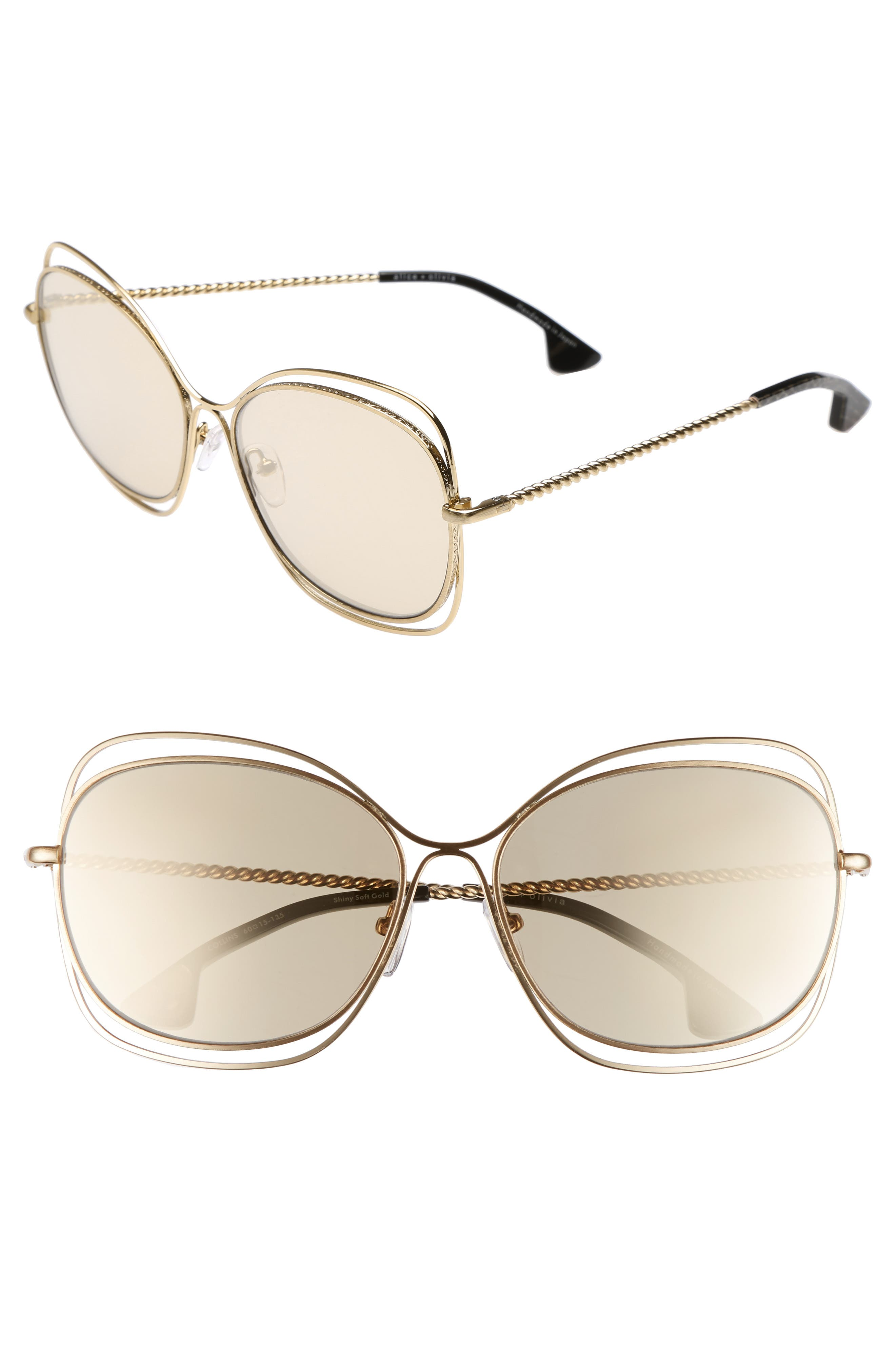 Collins 60mm Butterfly Sunglasses,                             Main thumbnail 1, color,                             Soft Gold