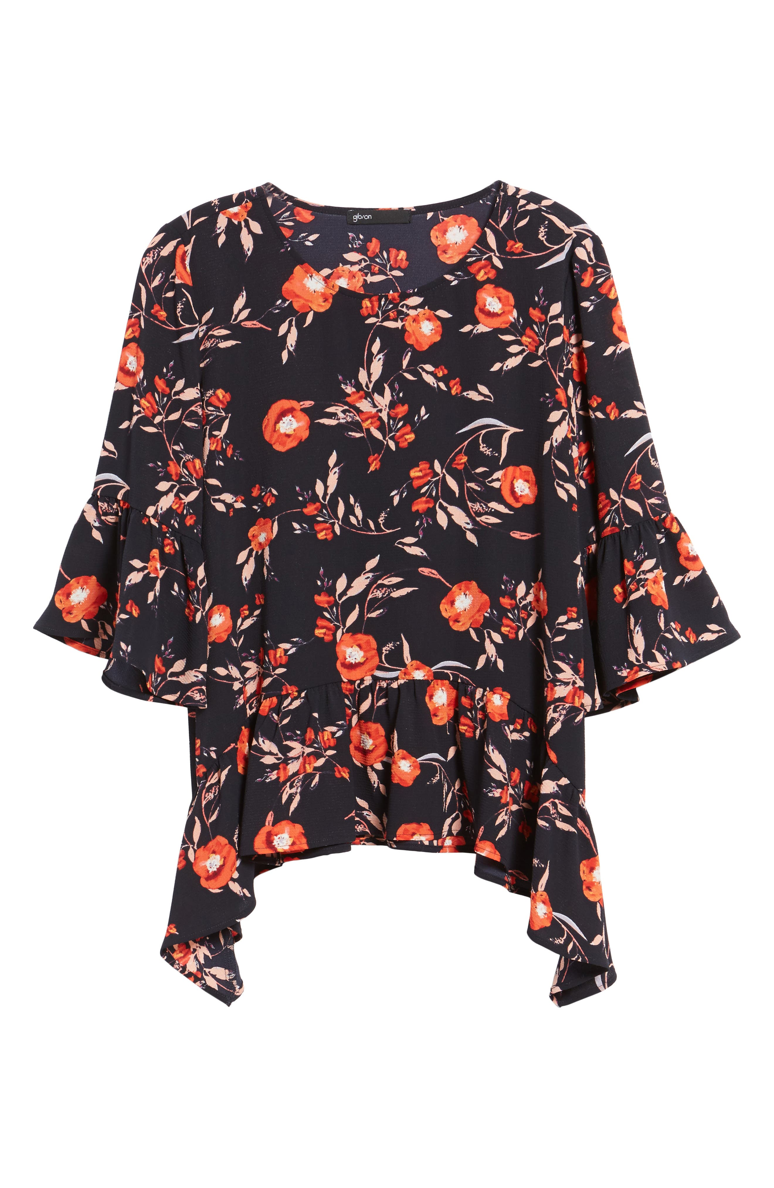 Ruffled Handkerchief Hem Top,                             Alternate thumbnail 5, color,                             Navy/ Floral Print