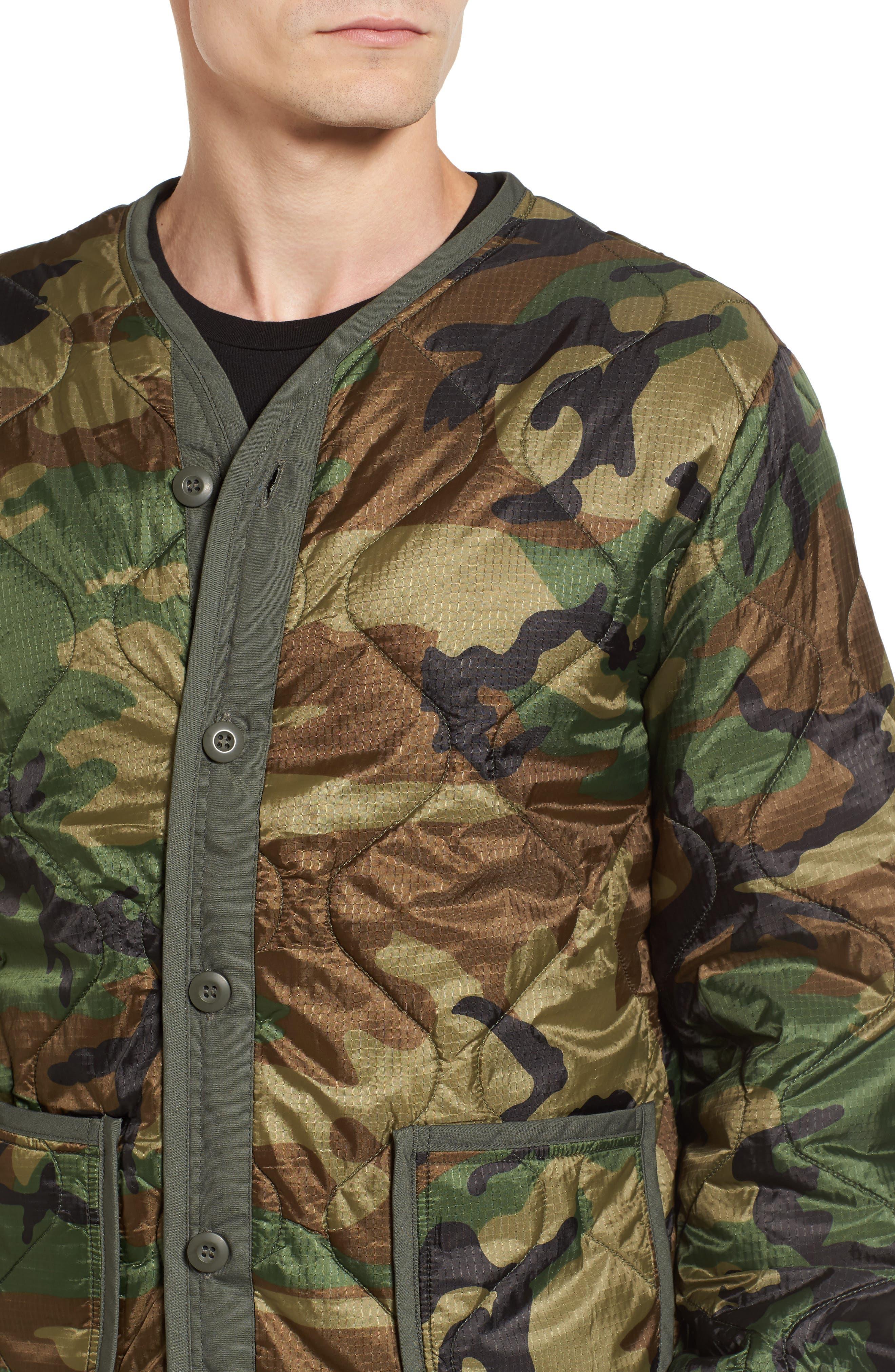 M-65 Defender Liner Jacket,                             Alternate thumbnail 4, color,                             Woodland Camo