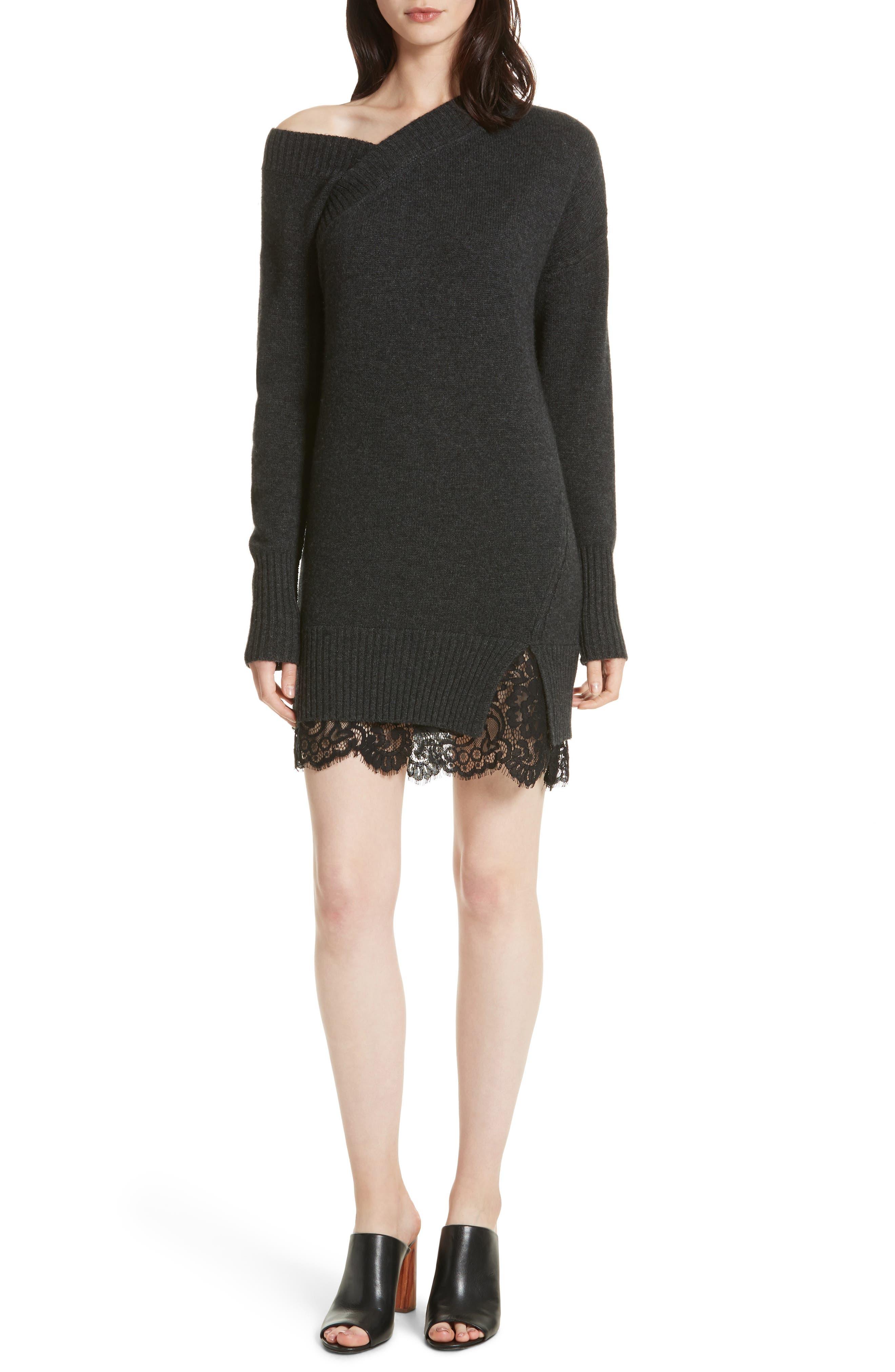 One-Shoulder Sweater Dress,                         Main,                         color, Graphite Melange/ Black