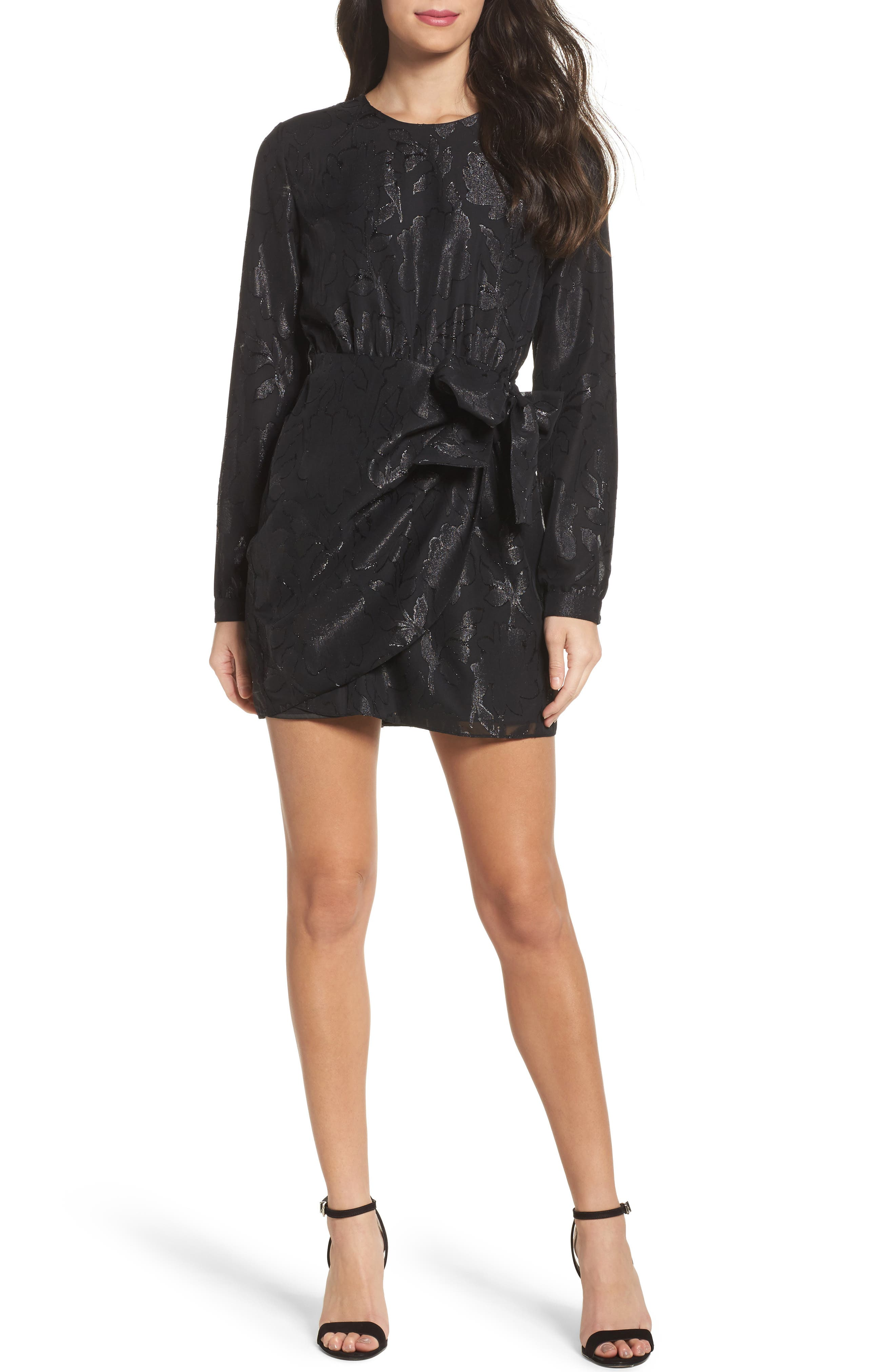 Bardot Metallic Drape Minidress