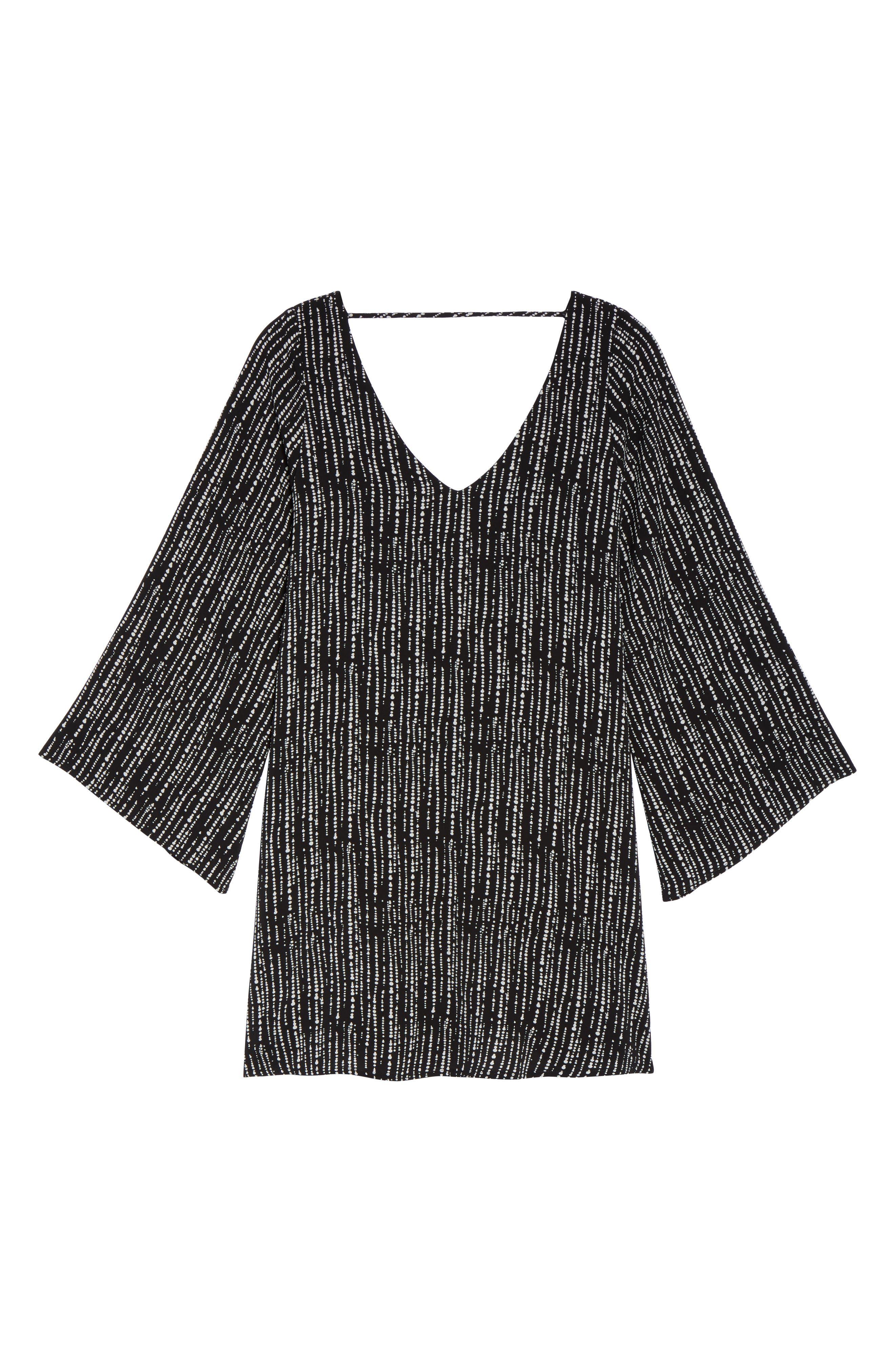V-Neck Shift Dress,                             Alternate thumbnail 6, color,                             Drizzle Print