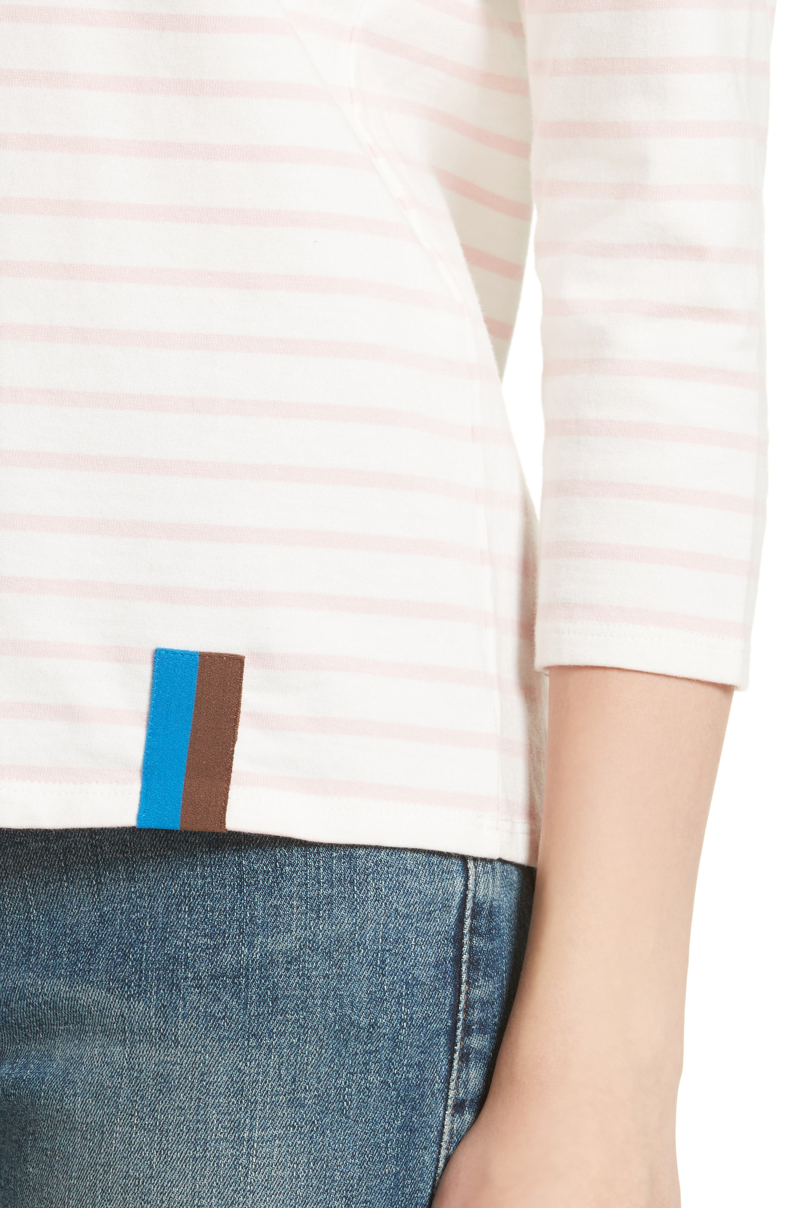 The Classic Stripe Tee,                             Alternate thumbnail 4, color,                             White/ Pink