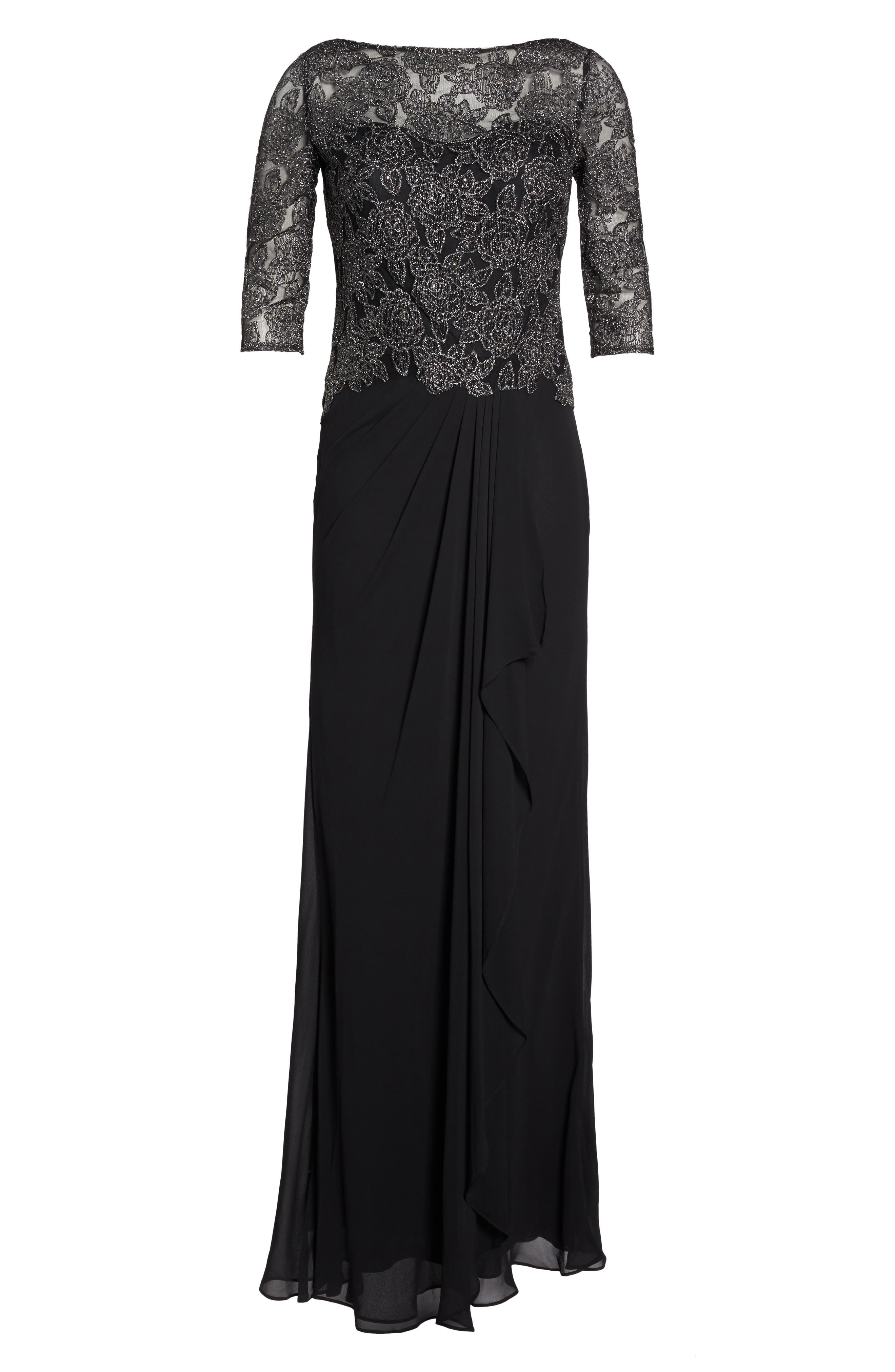 Metallic Embroidered A-Line Gown,                             Alternate thumbnail 6, color,                             Black