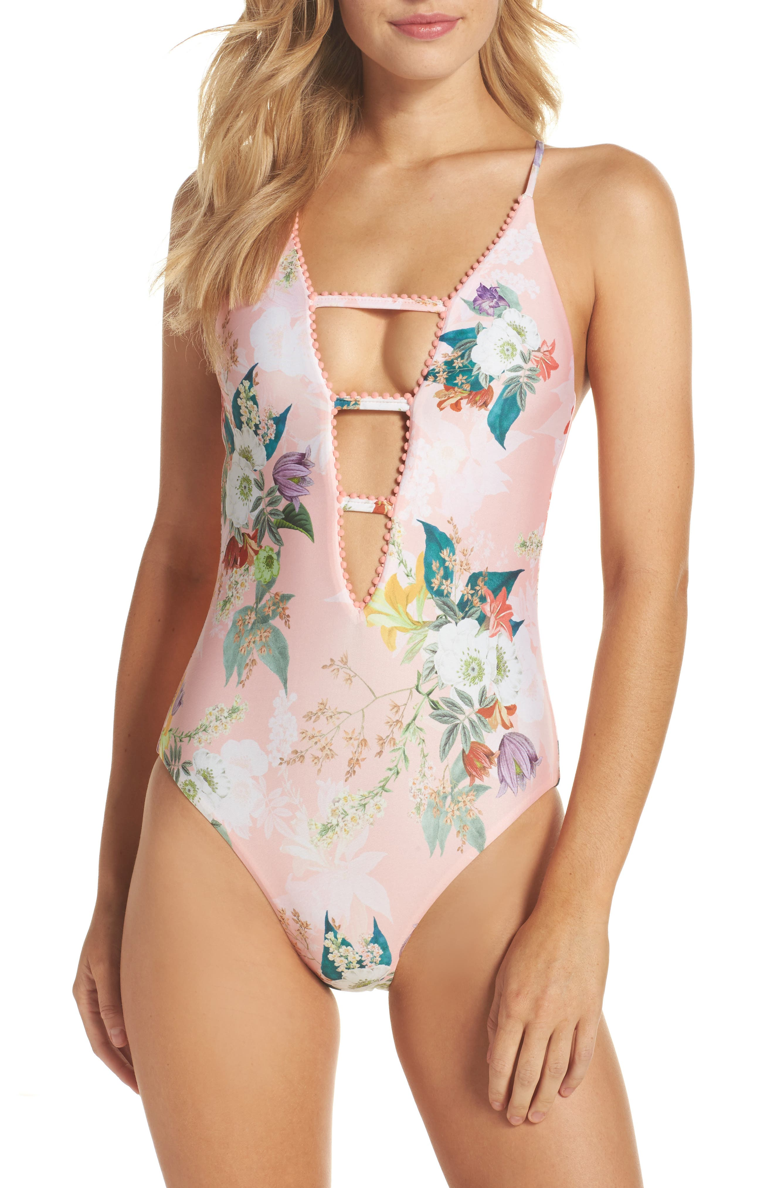 Blossoms Plunge One-Piece Swimsuit,                         Main,                         color, Coral Multi