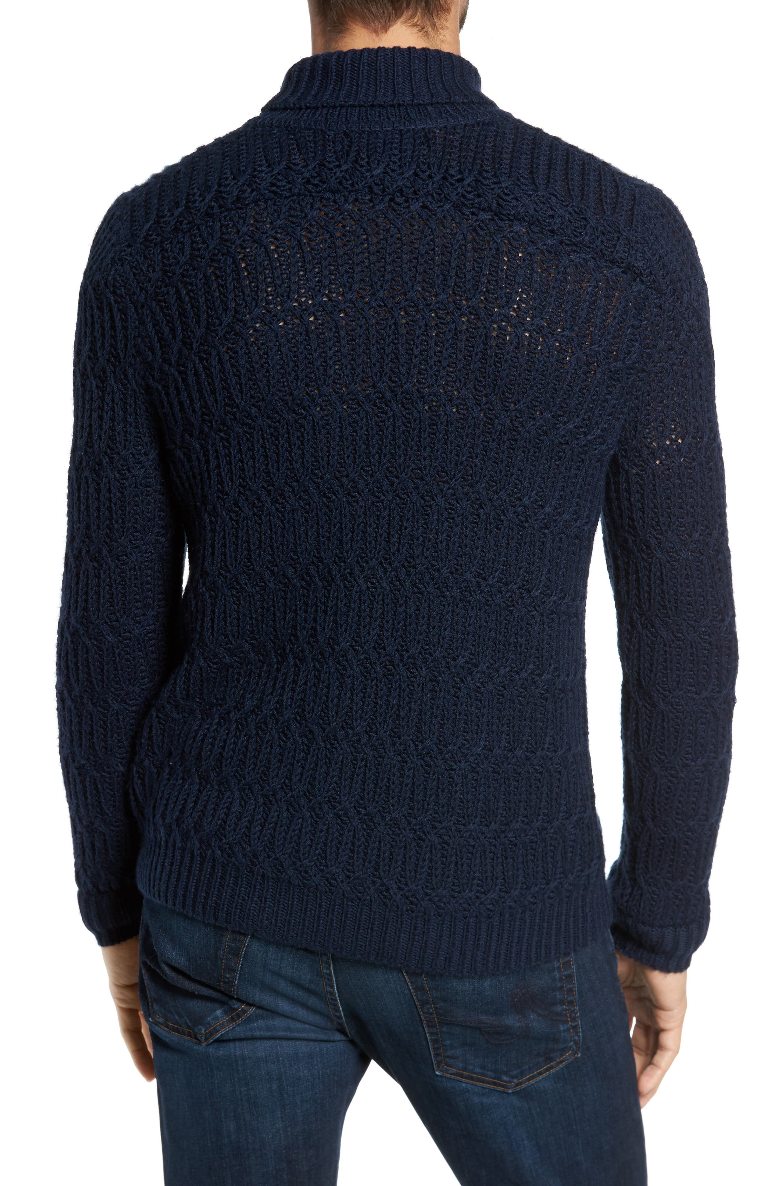 Chunky Turtleneck Sweater,                             Alternate thumbnail 4, color,                             Navy Iris