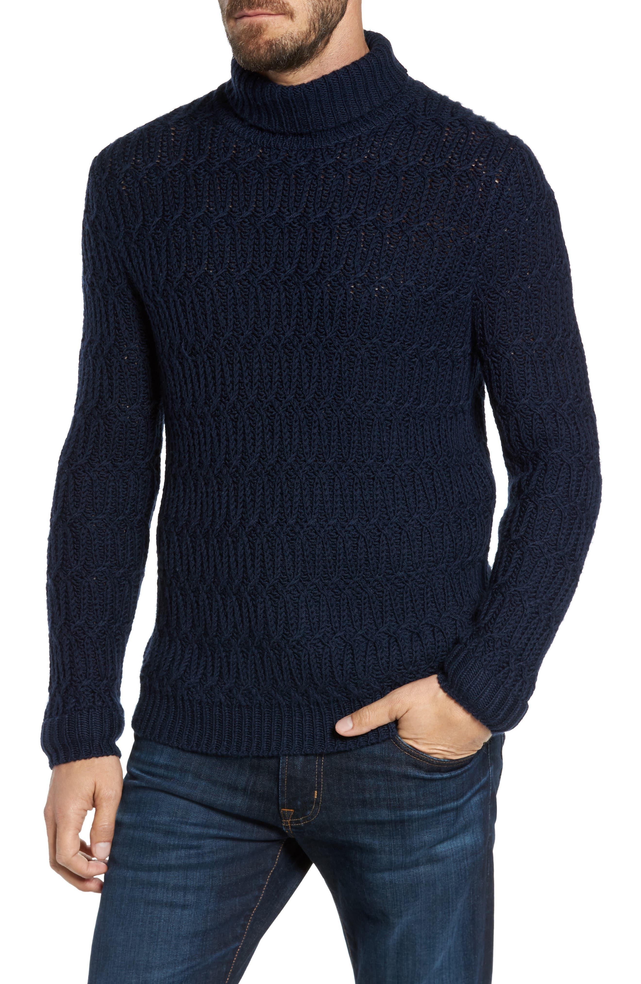Chunky Turtleneck Sweater,                             Main thumbnail 1, color,                             Navy Iris
