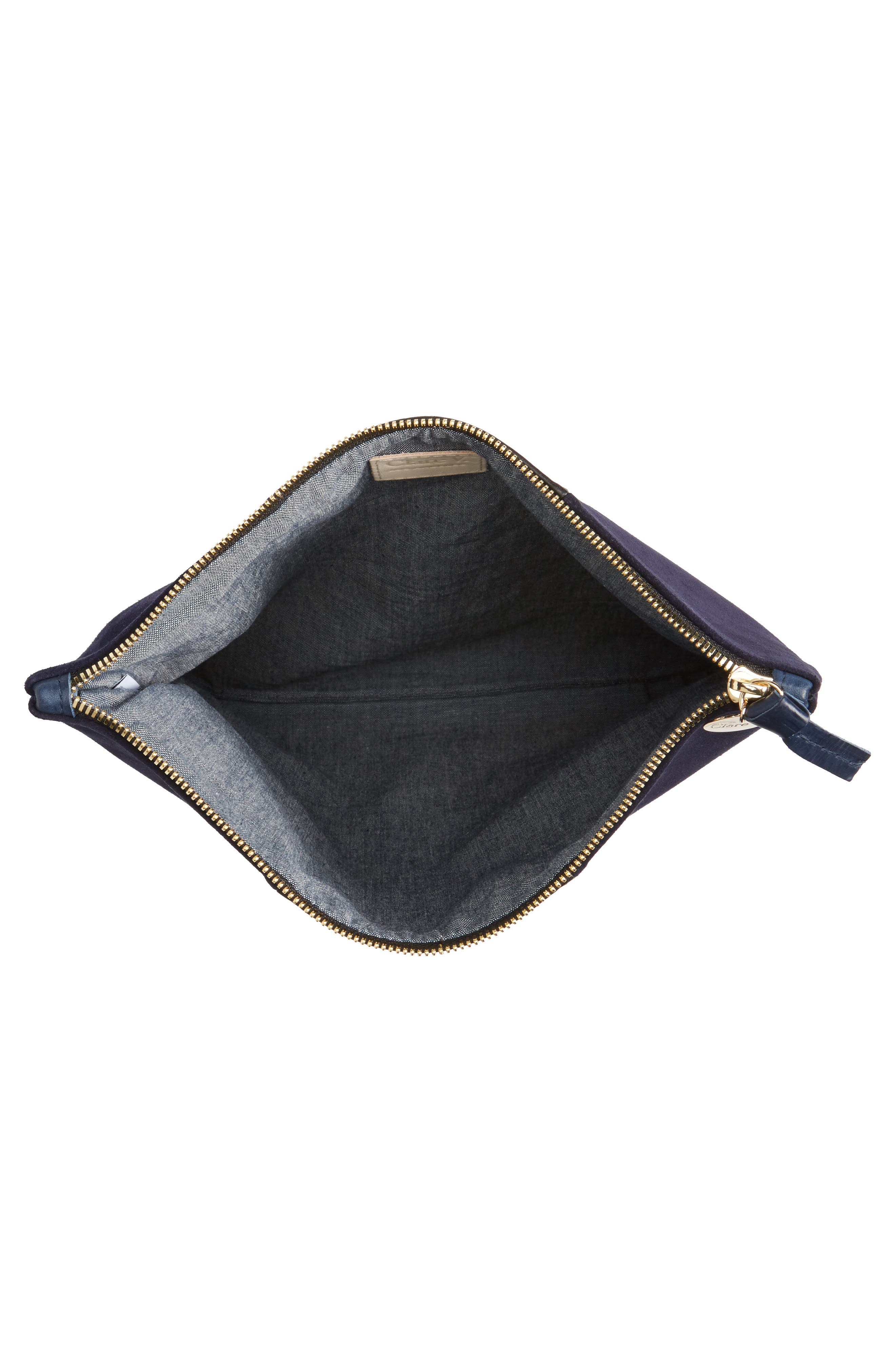 Leather & Suede Foldover Clutch,                             Alternate thumbnail 4, color,                             Black Nappa/ Navy Suede