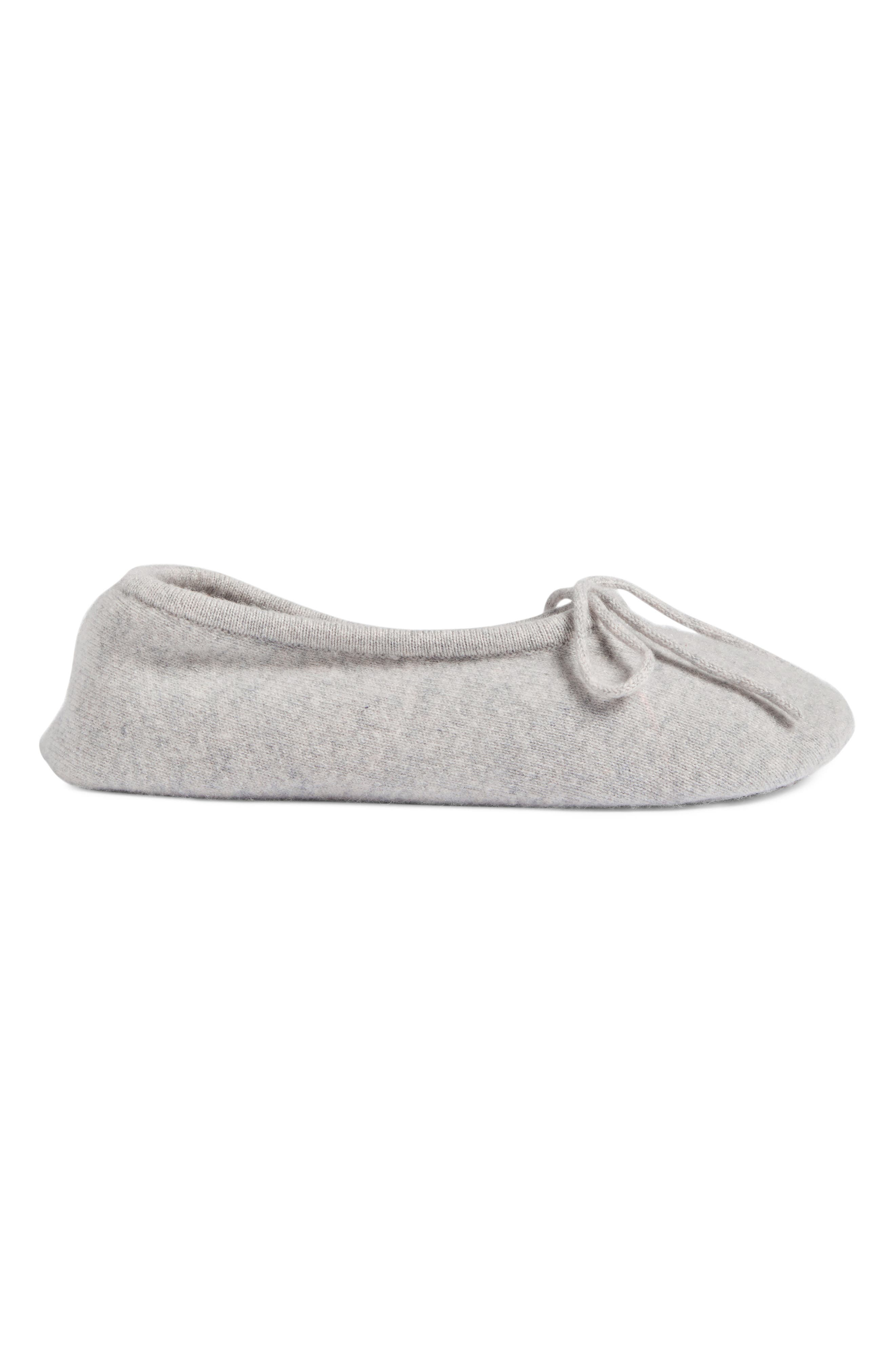 Wool & Cashmere Ballerina Slippers,                             Alternate thumbnail 3, color,                             Grey Soft Heather