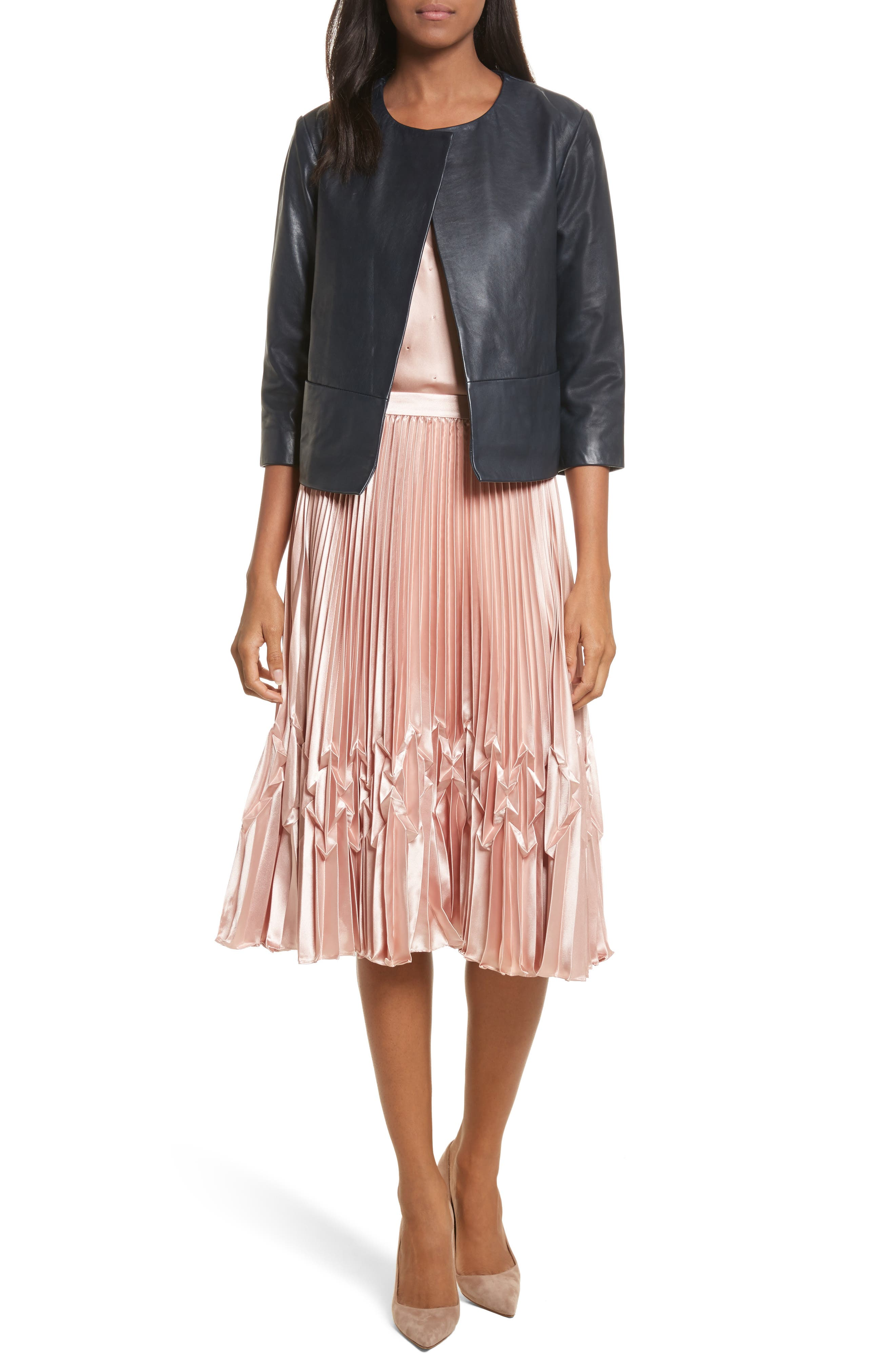 Zigzag Detail Pleated Midi Skirt,                             Alternate thumbnail 6, color,                             Rose Gold