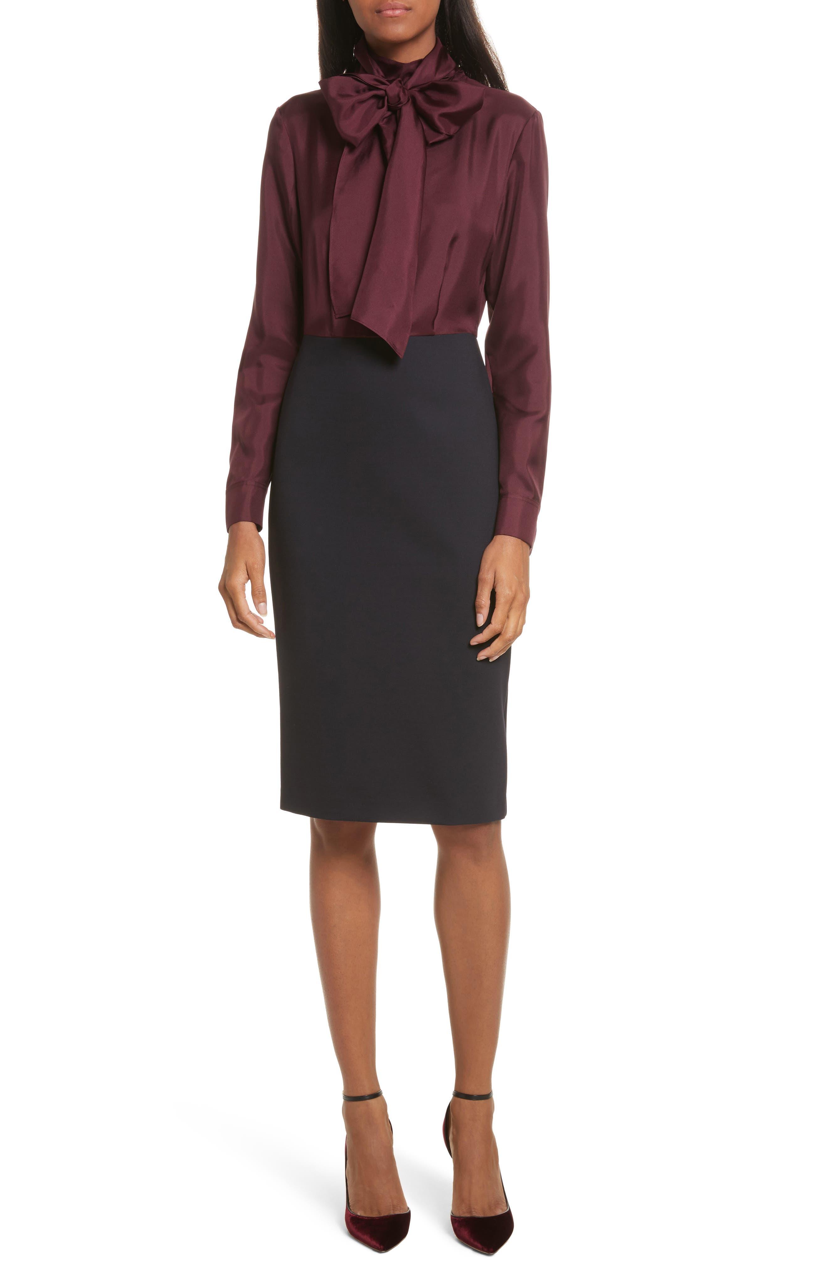 Jensah Tie Neck Mixed Media Dress,                             Main thumbnail 1, color,                             Dark Blue