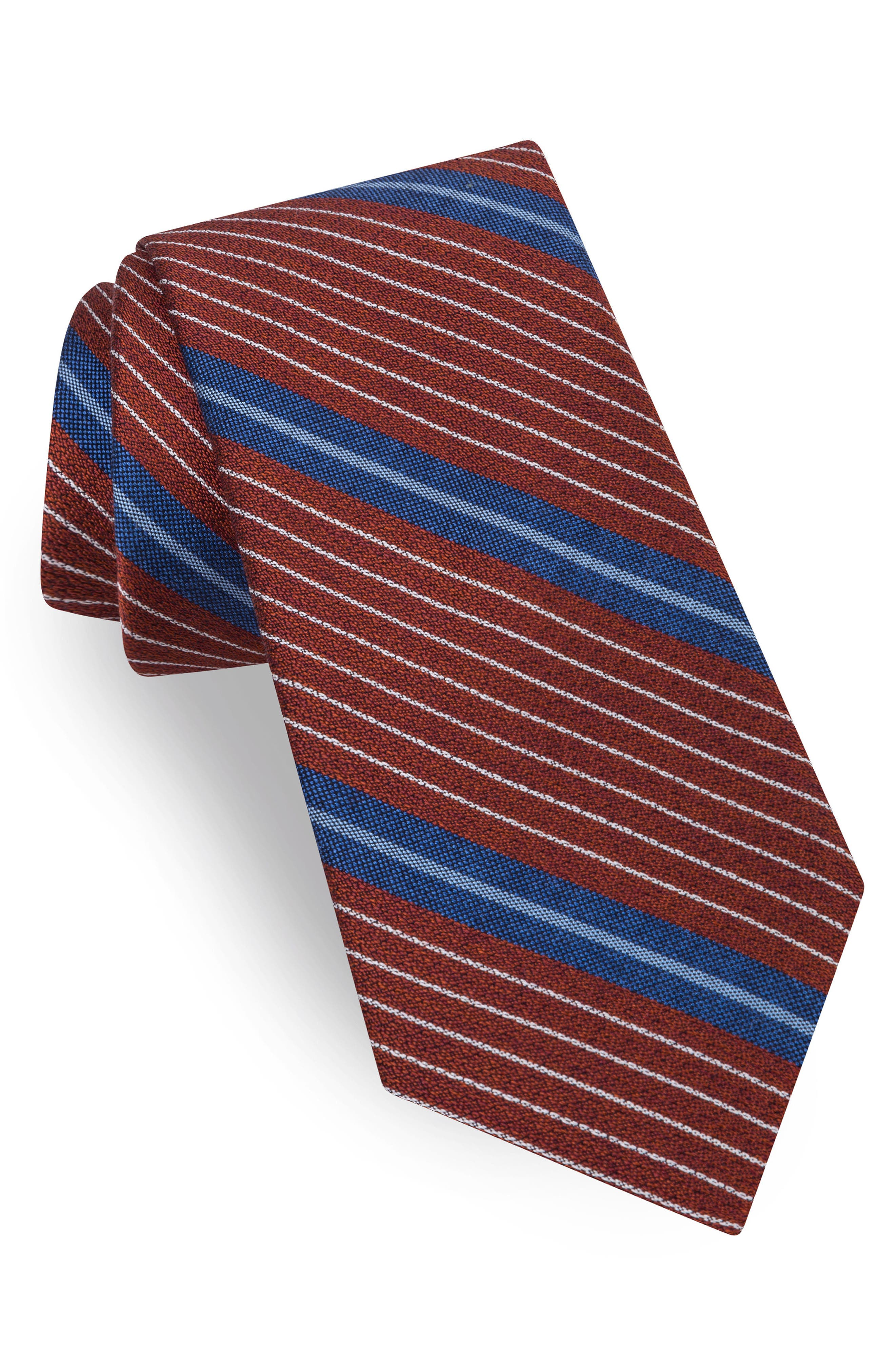Ted Baker London Sable Stripe Silk & Cotton Tie